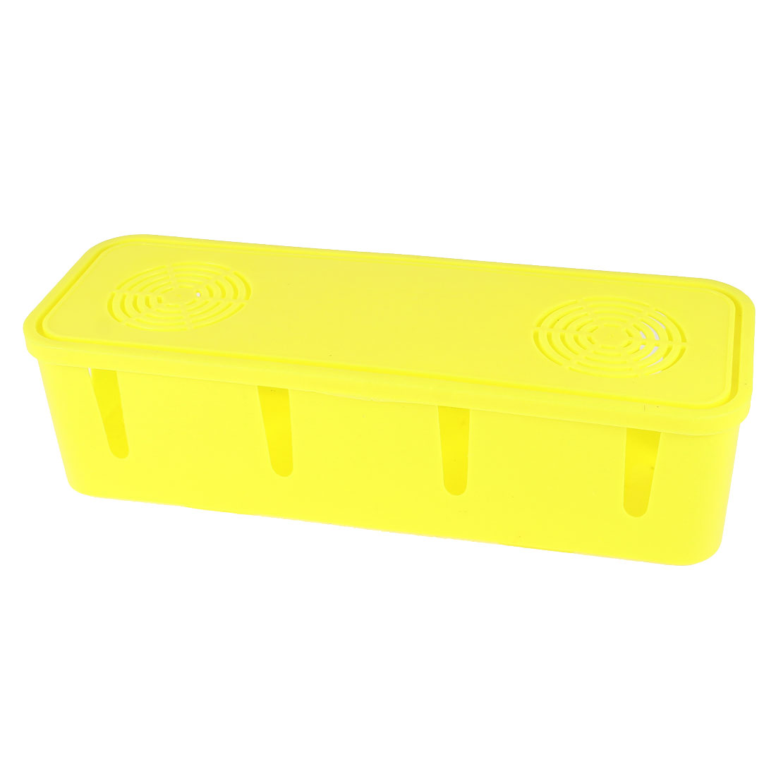 Yellow Plastic Power Plug Cable Cord Socket Storage Box Case