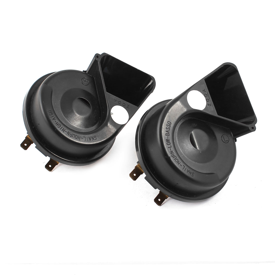 2 Pcs DC 12V Car Auto Electric Snail Shape Horn Siren Black