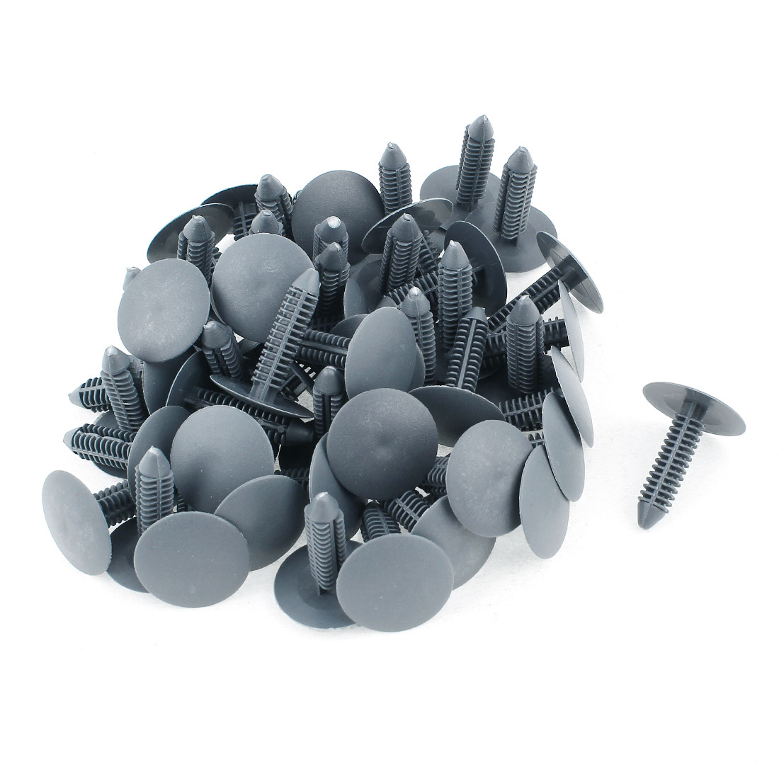 Hole Universal Gray Plastic Round Buckle Rivets Fastener 7 x 31mm 50 Pcs