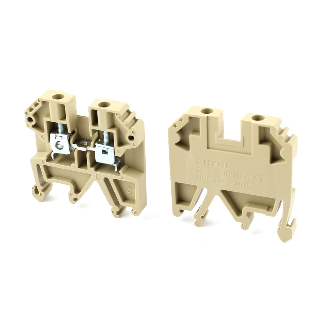 Khaki 660V 24A SAK-2.5 IEC60947-7-1 Screw on Terminal Block Connector 2 Pcs