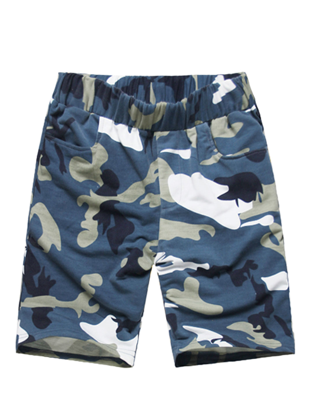 Men Elastic Waist Camouflage Pattern Slant Front Pockets Casual Shorts Navy Blue W32