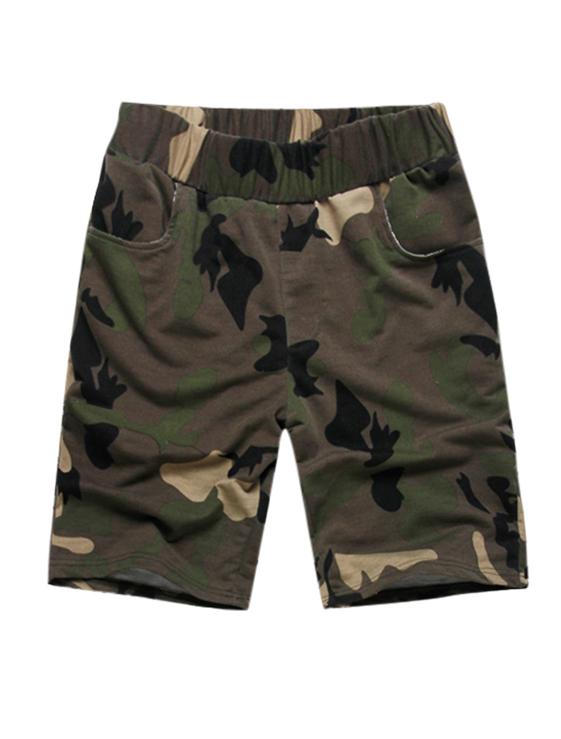 Men Stretchy Waist Camouflage Pattern Pocket Back Casual Shorts Army Green W32