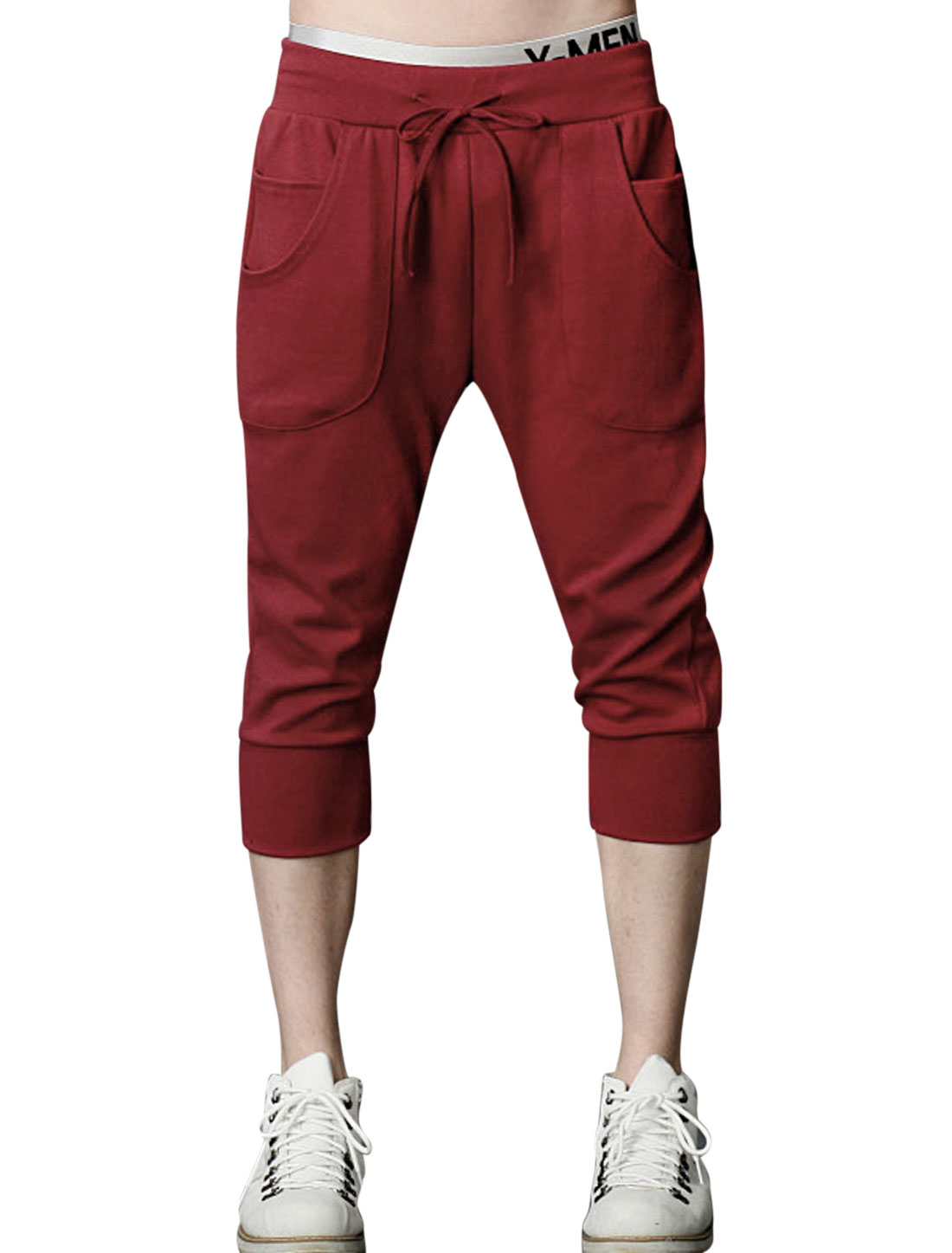 Men Korean Style Casual Draw Cord Waist Sport Capris Burgundy W30