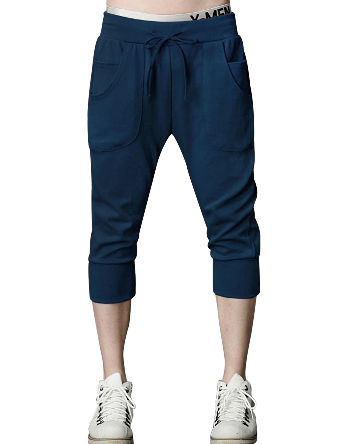Men Elastic Waist with Drawstring Casual Sport Capris Navy Blue W30