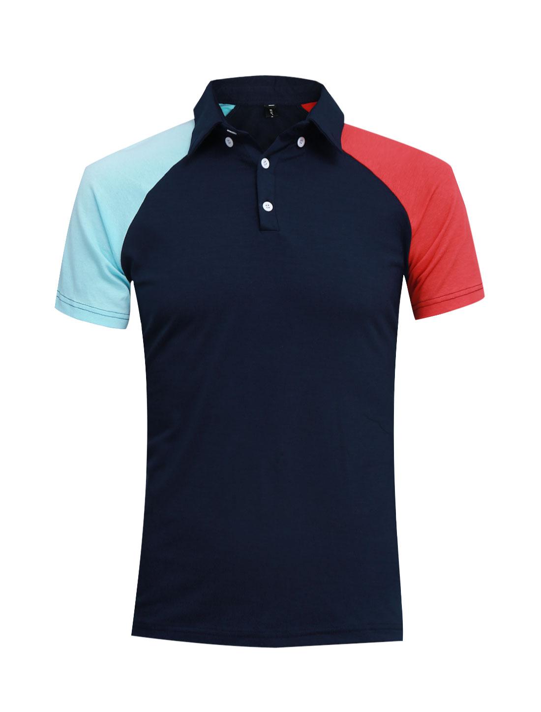 Men Pullover Short Raglan Sleeve Splicing Polo Shirt Navy Blue M