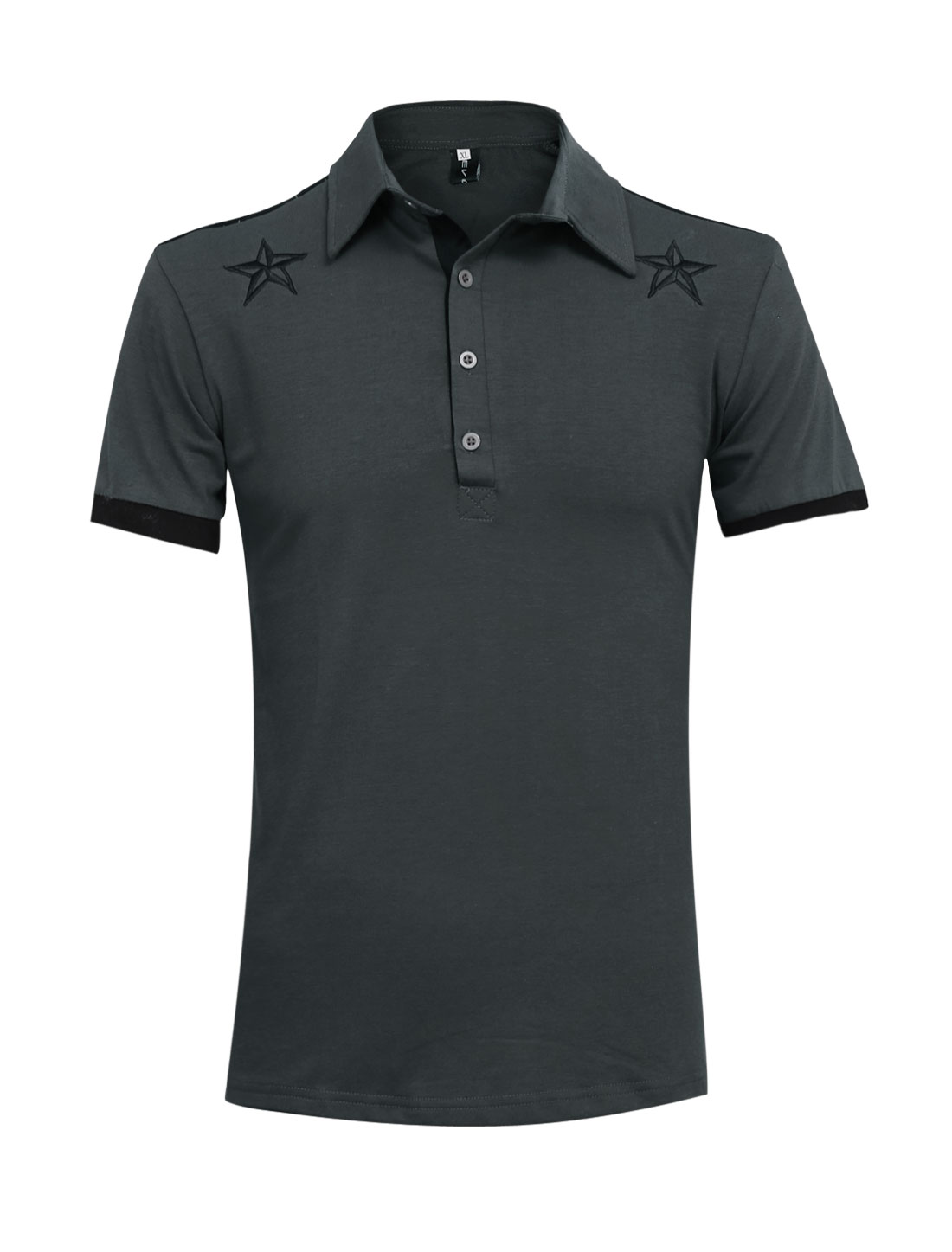 Men Point Collar Star Embroidery Slim Fit Polo Shirt Dark Gray M