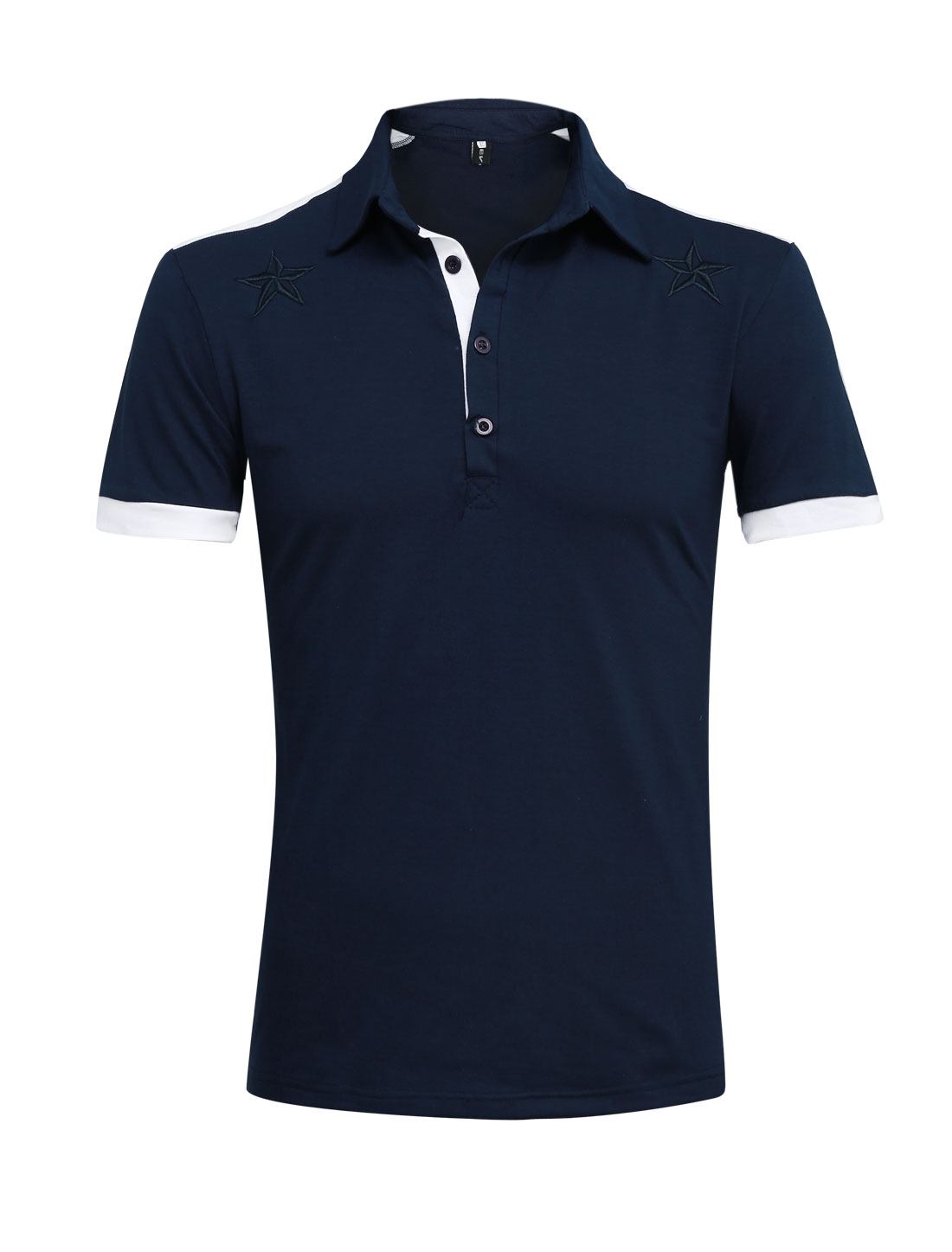 Men Point Collar Star Embroidery Summer Polo Shirt Navy Blue M