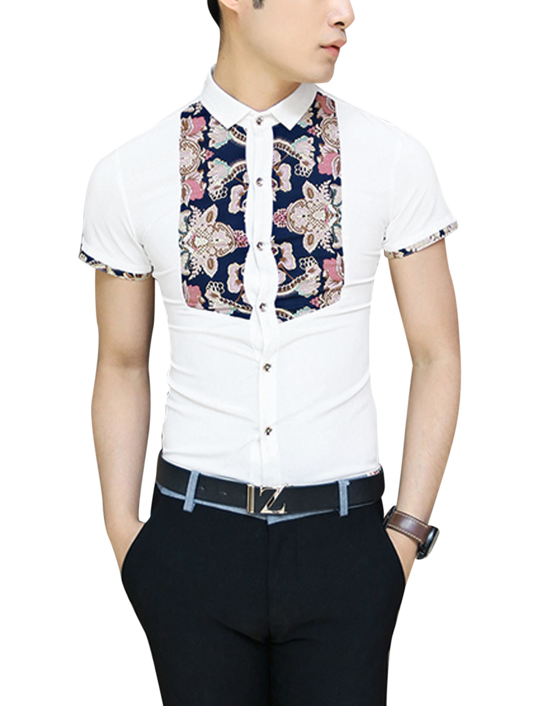 Men Button Closure Flower Pattern Front Patchwork Design Shirt White S
