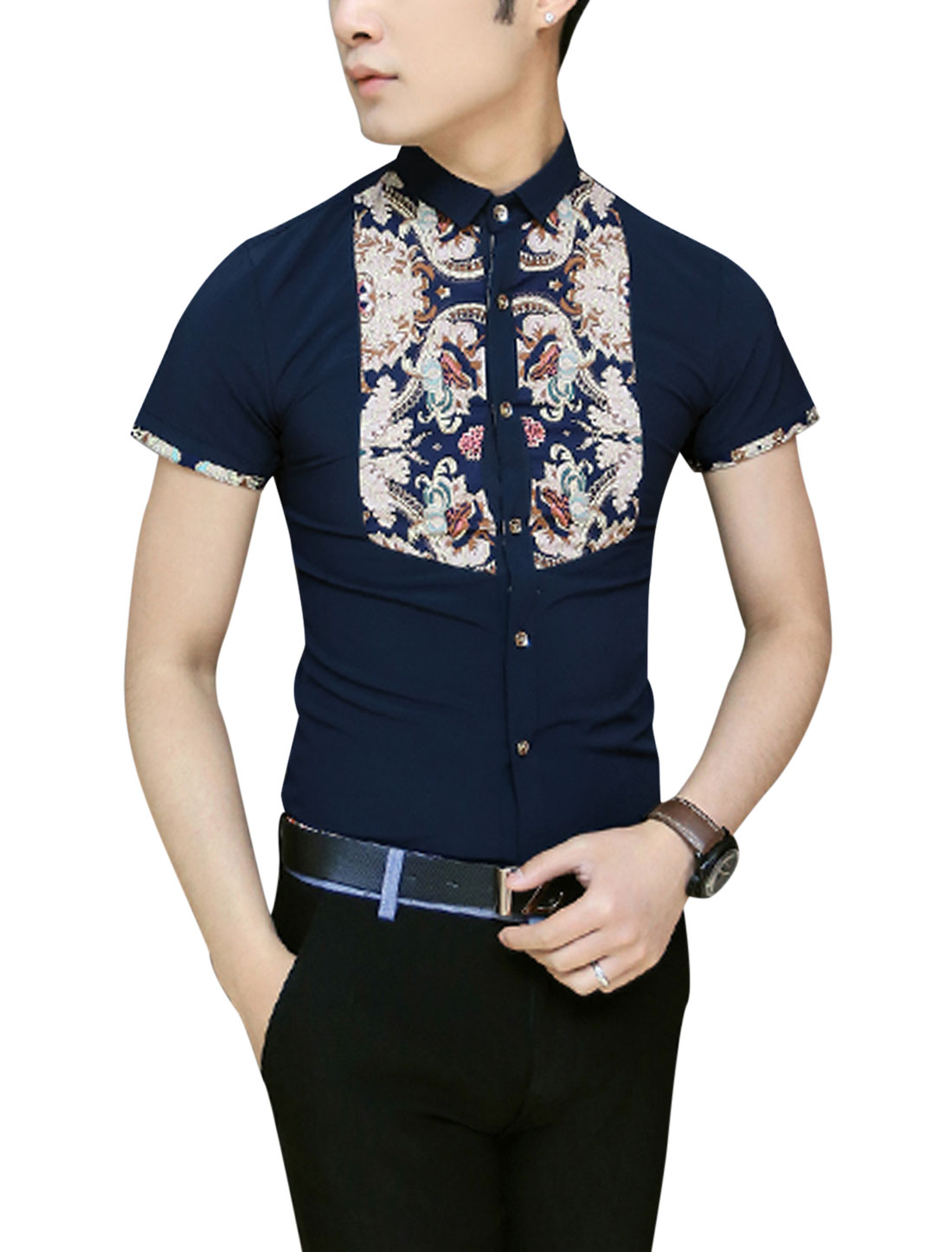 Men Slim Fit Floral Prints Front Panel Design Shirt Navy Blue S