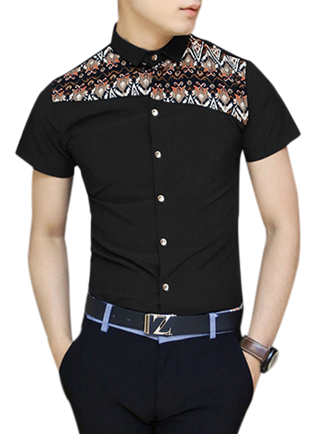 Men Button-Front Novelty Prints Panel Design Shirt Black S