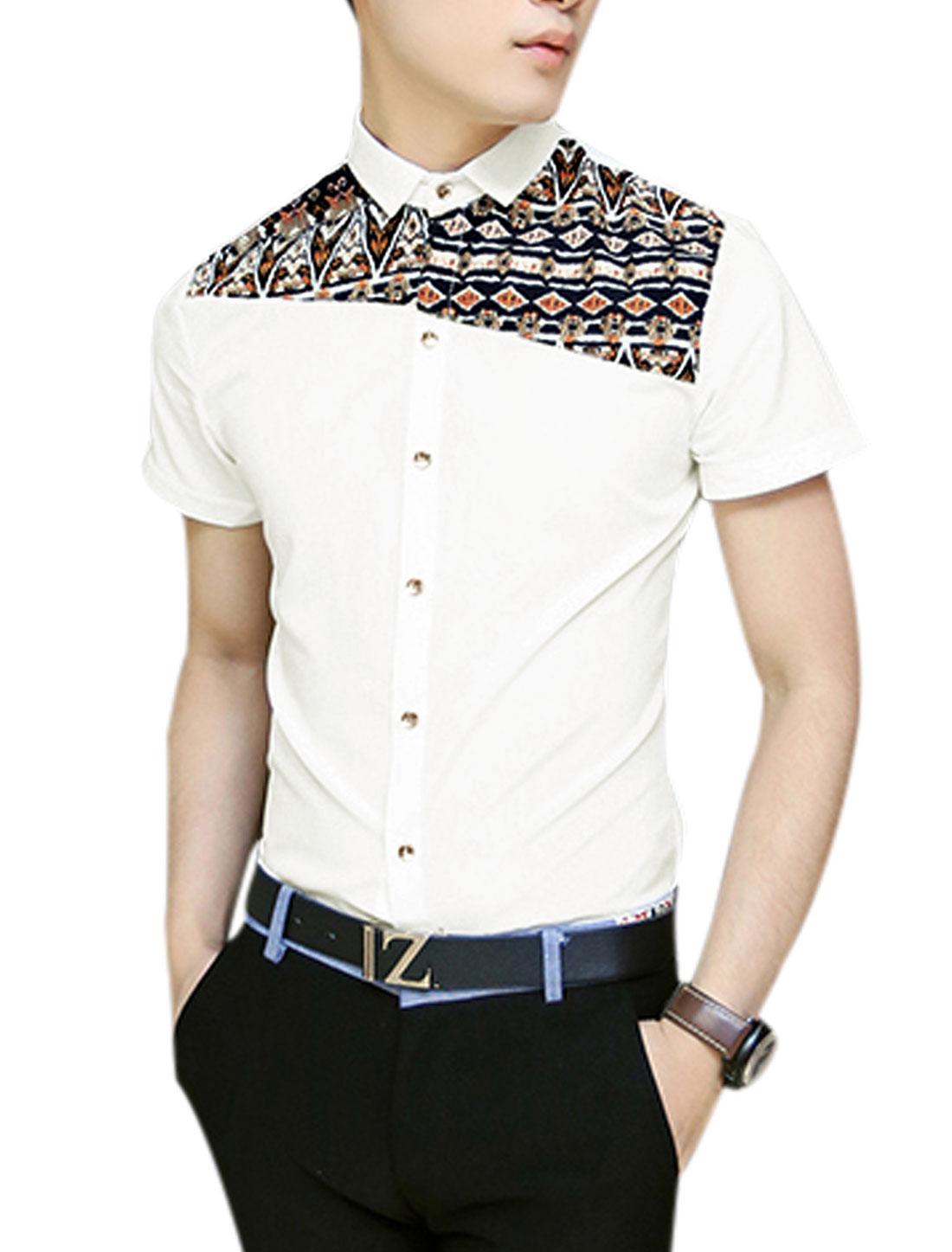 Men Button Closure Novelty Prints Panel Design Shirt White S