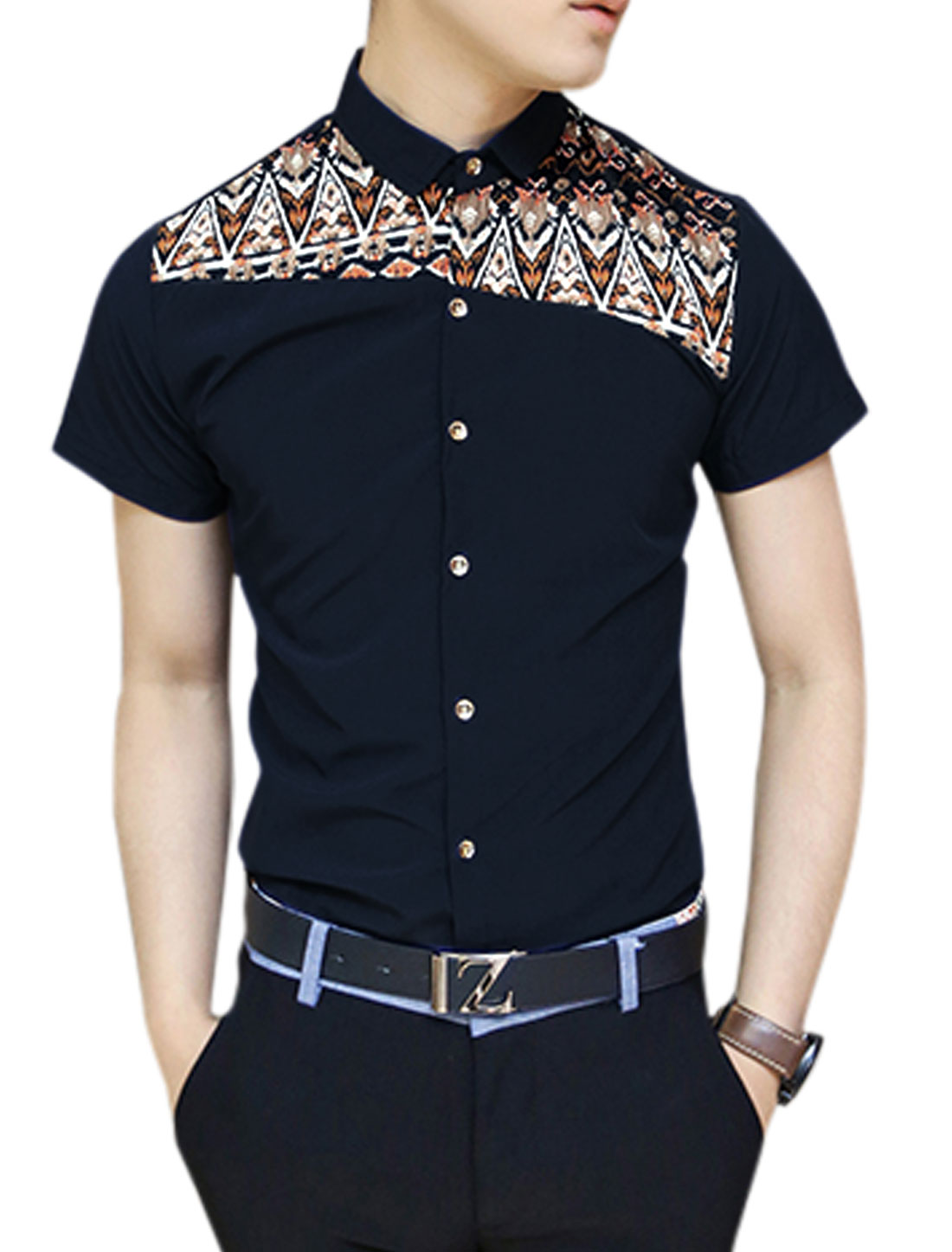 Men Button Closure Novelty Prints Panel Design Shirt Navy Blue S