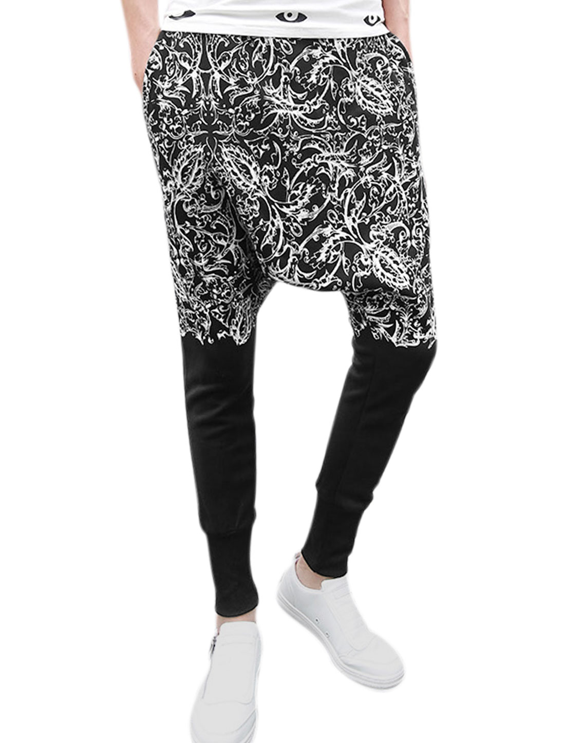 Men Elastic Waist Floral Prints Hip-hop Crotch Casual Harem Pants Black W30