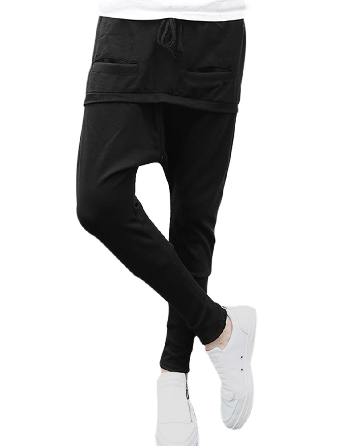 Men Drawstring Waist Spliced Low Crotch Loose Casual Harem Pants Black W30