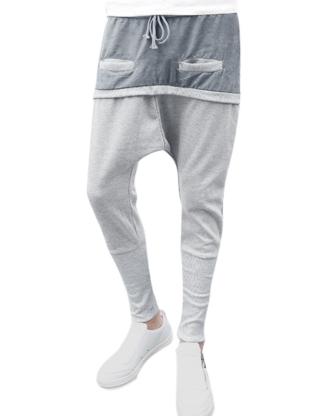 Men Hip-hop Crotch Splicing Front Pockets Loose Harem Trouses Light Gray W30