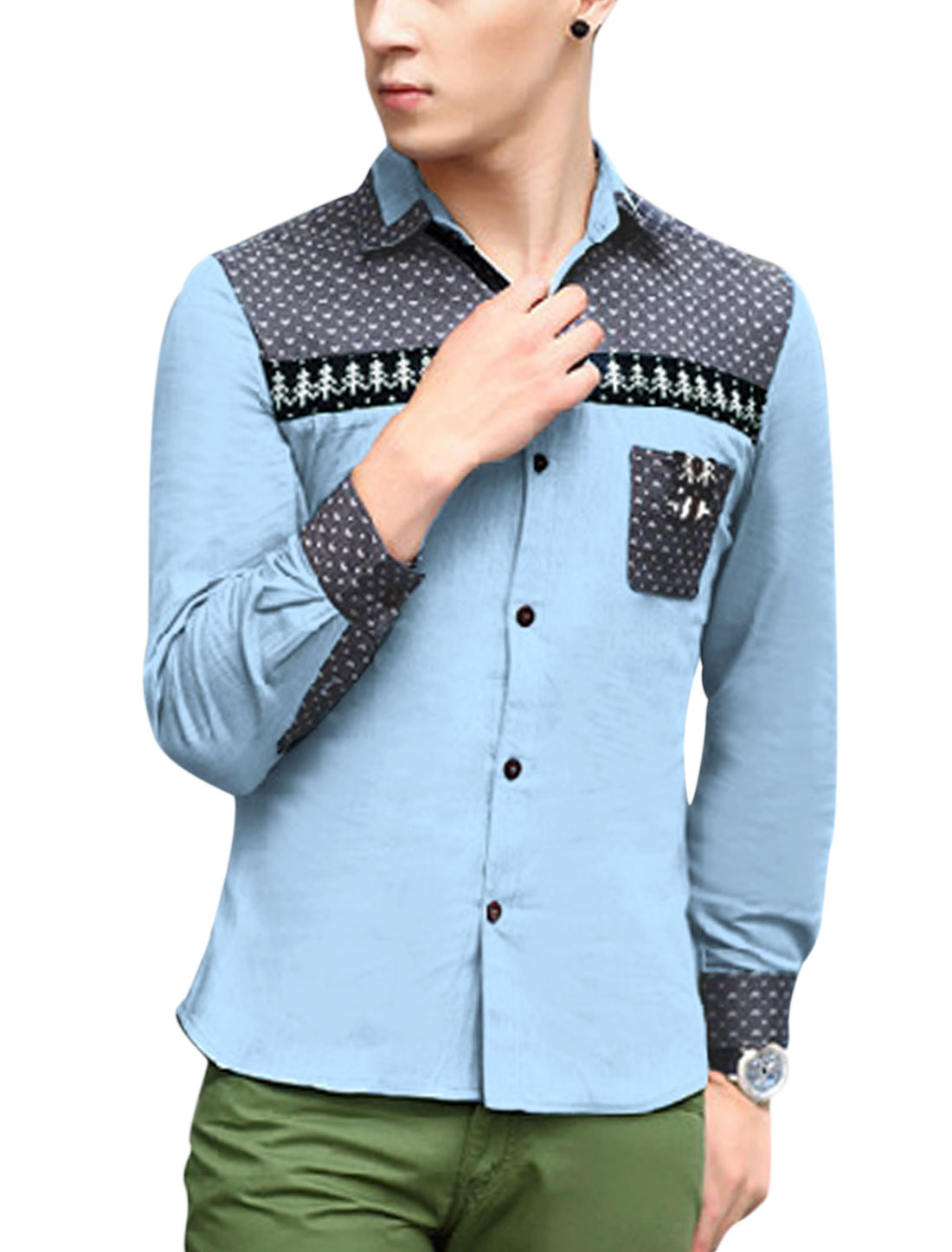 Men Button Down Ribbed Panel Novelty Prints Thin Denim Shirt Light Blue M