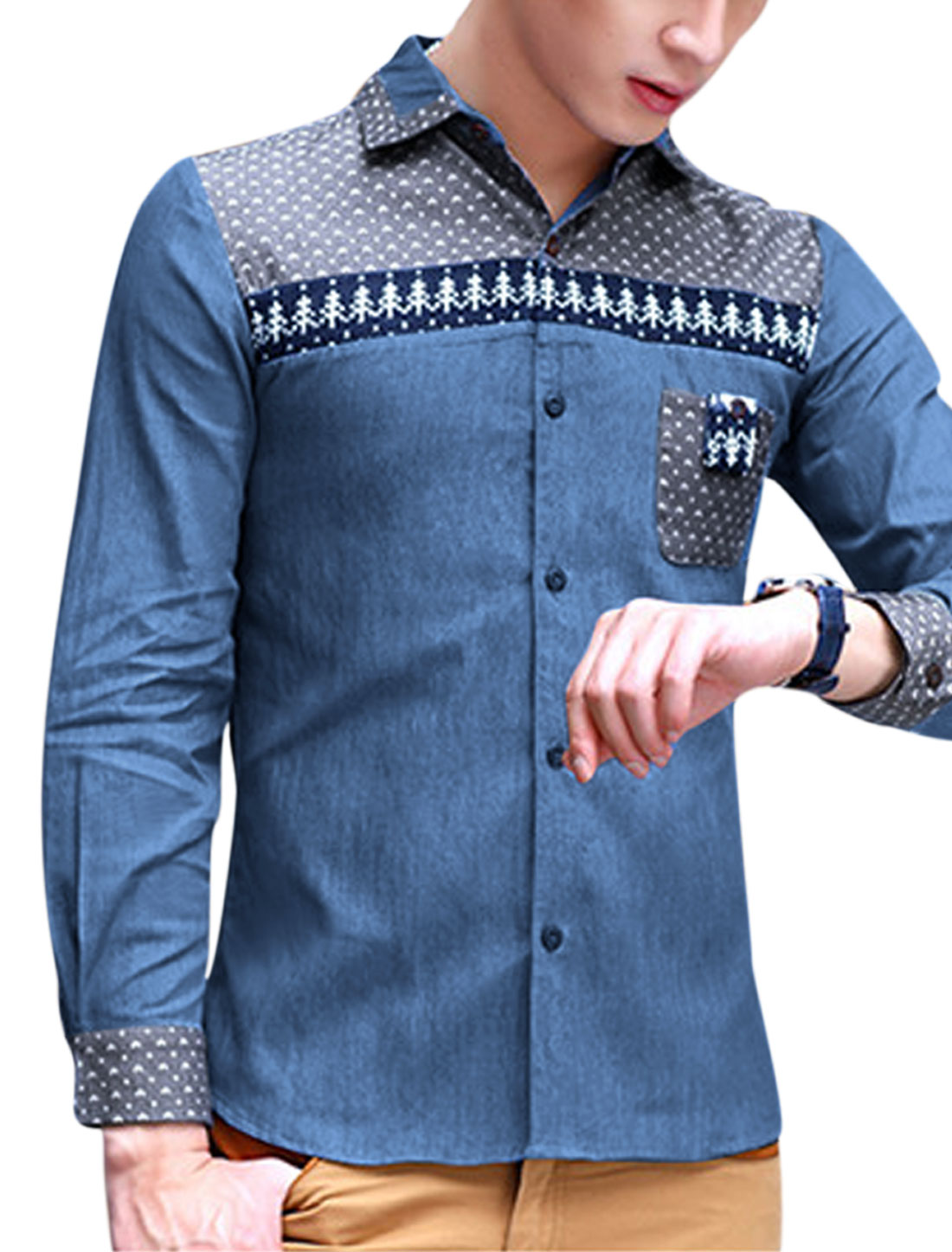Men Button-Front Ribbed Panel Novelty Prints Thin Denim Shirt Dark Blue M