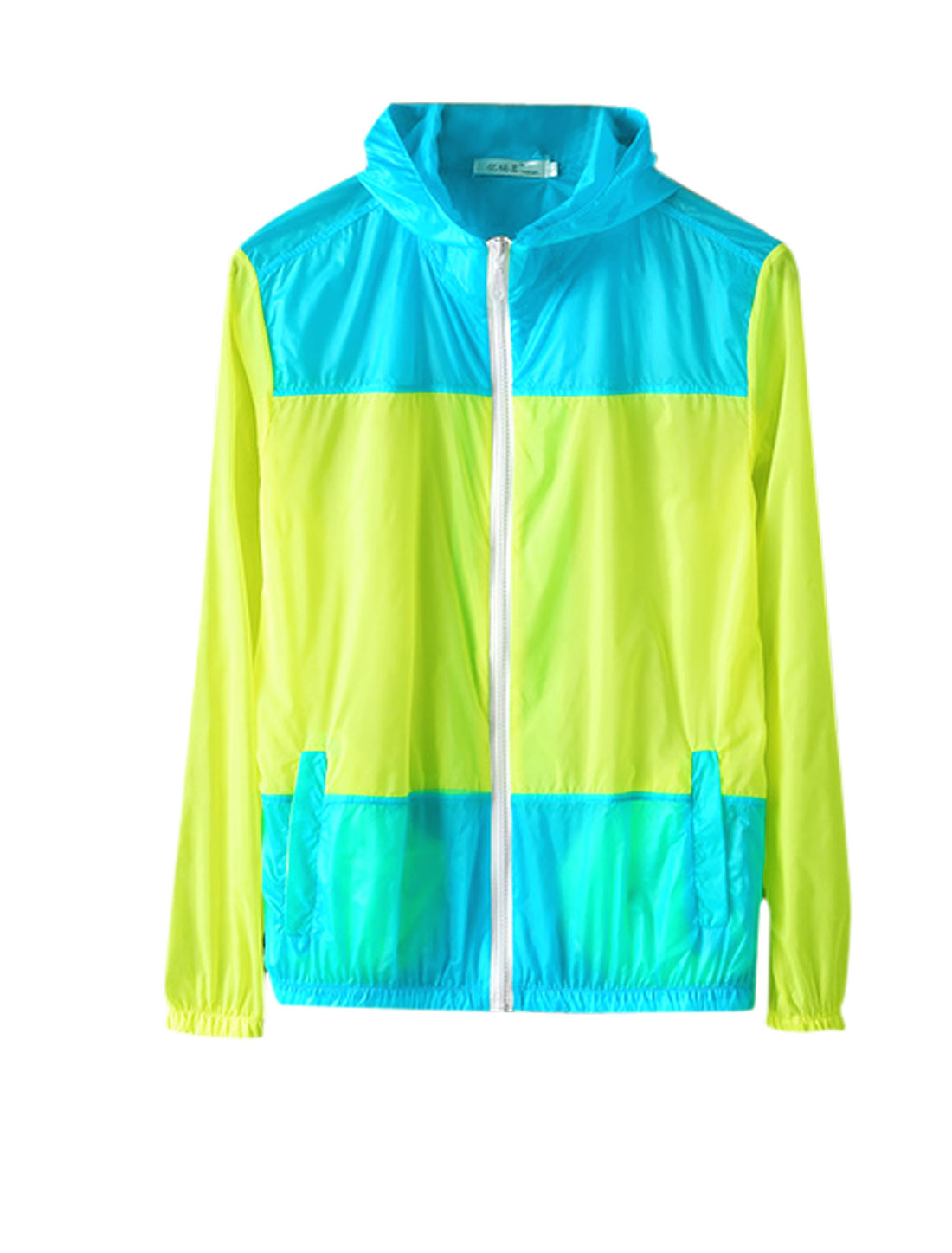 Men Zip Front Colorblock Semi Sheer Thin Basic Hooded Jacket Blue Lime M