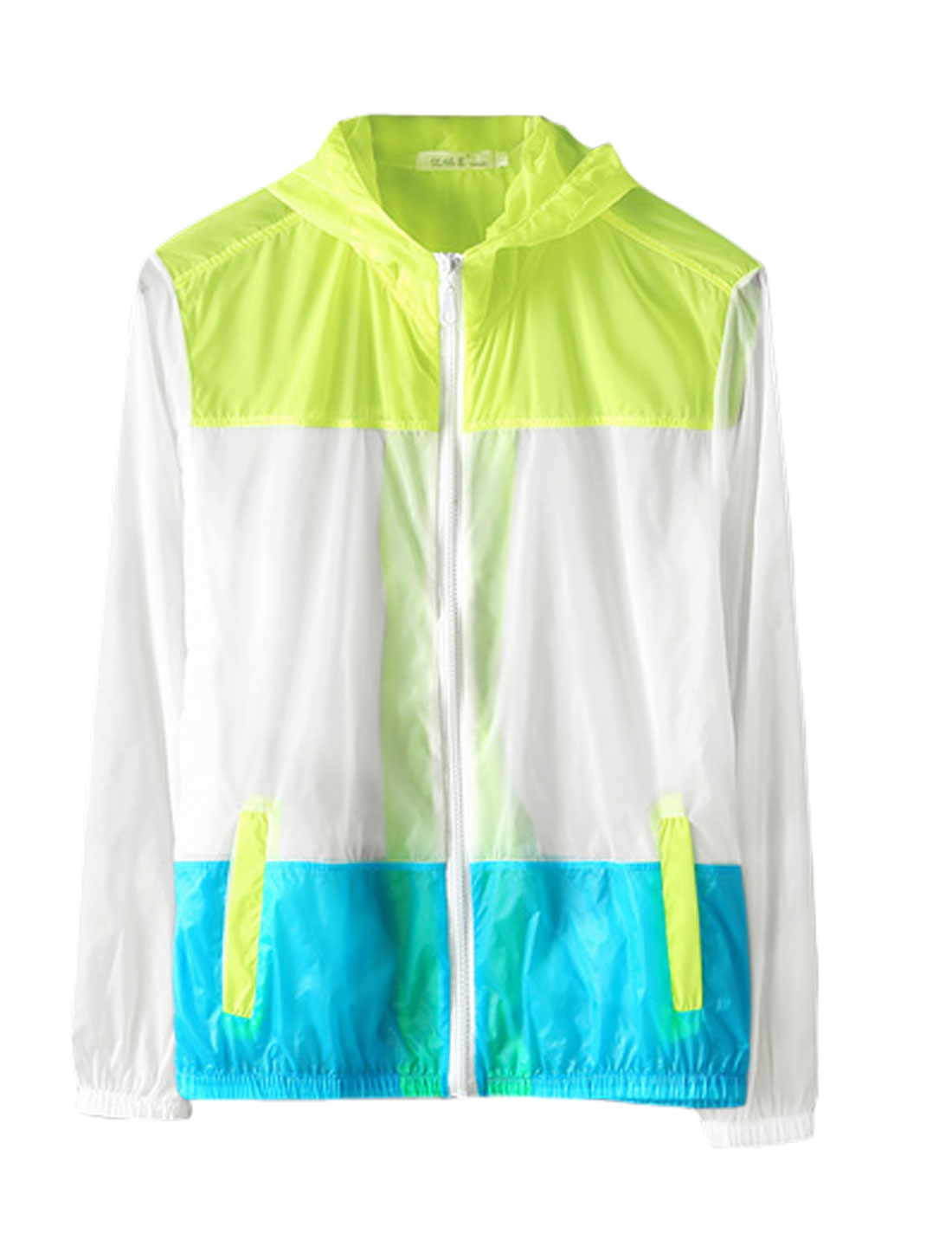 Men Full Zip Long Sleeve Colorblock Thin Basic Hooded Jacket Lime White M