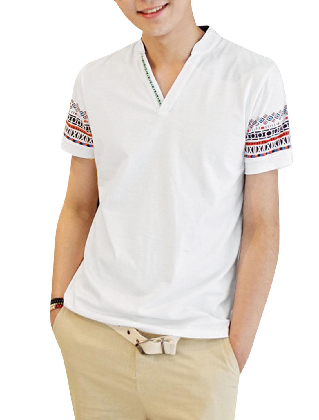 Men Cozy Fit Mandarin Collar Geometric Prints Top Shirt White S