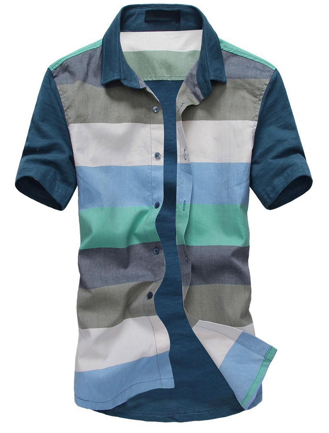 Men Point Collar Colorblock Slim Fit Top Shirt Light Blue Navy Blue S