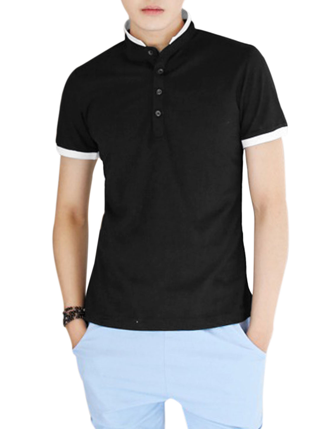 Man 3/4 Placket Convertible Collar Trendy Slim Polo Shirt Black S