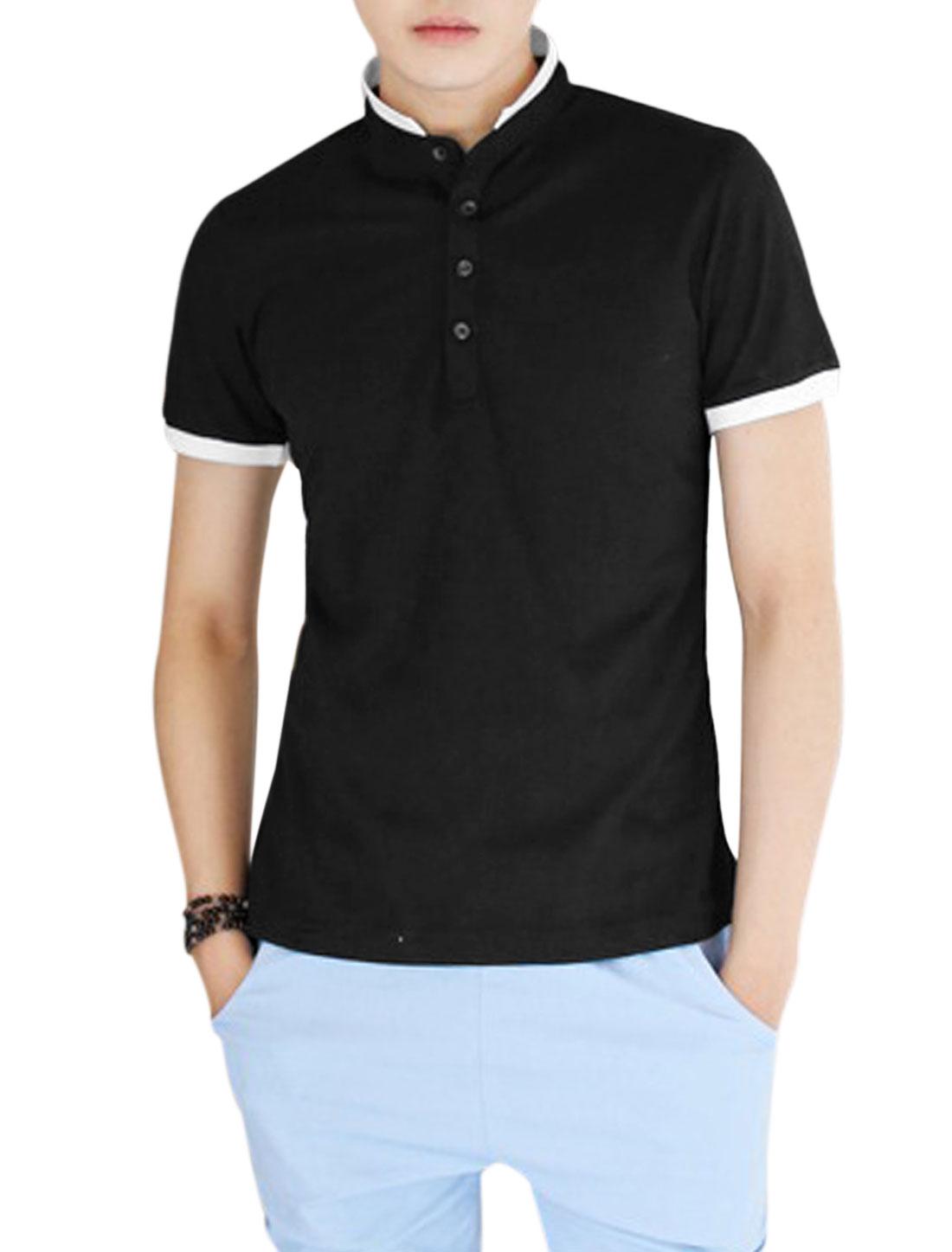 Man 3/4 Placket Convertible Collar Trendy Slim Polo Shirt Black S
