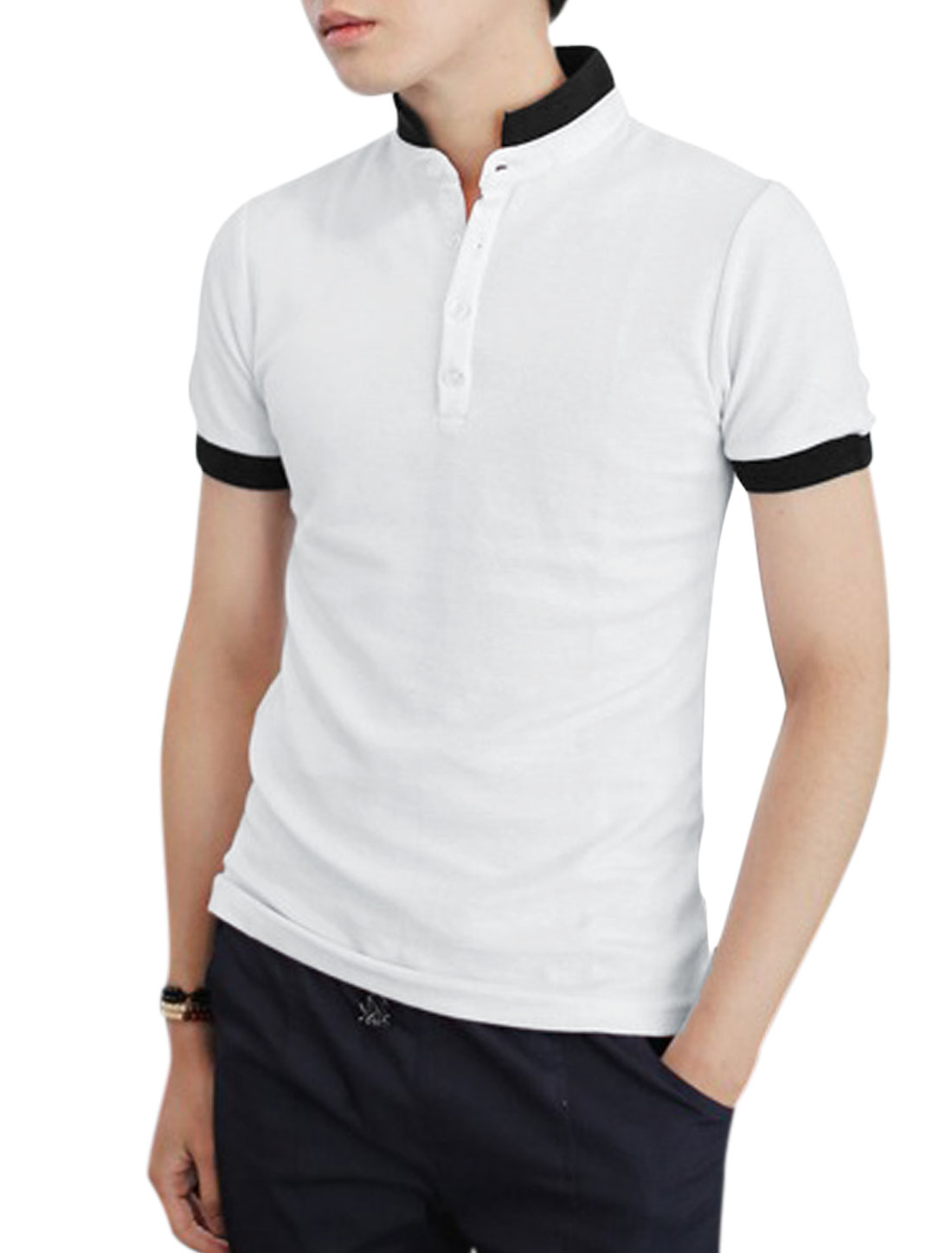 Man Panel Design Convertible Collar Trendy Slim Polo Shirt White S