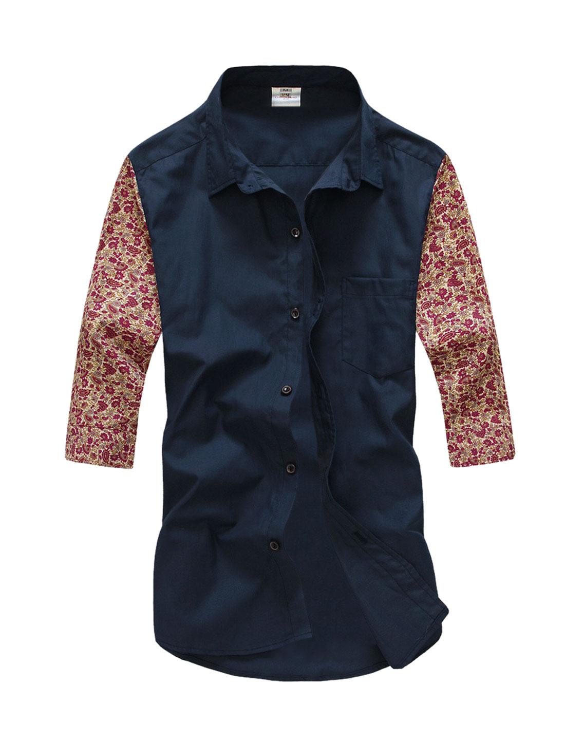 Men 3/4 Sleeve Flower Pattern Paisleys Slim Top Shirt Navy Blue M