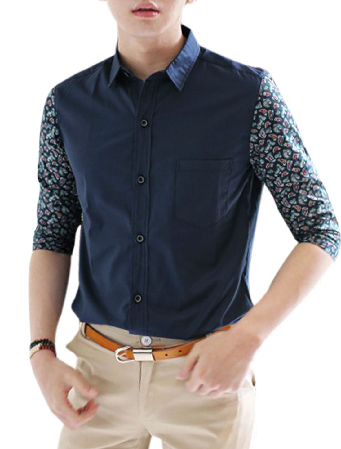 Men Summer 3/4 Sleeve Breast Pocket Splicing Paisleys Top Shirt Navy Blue M