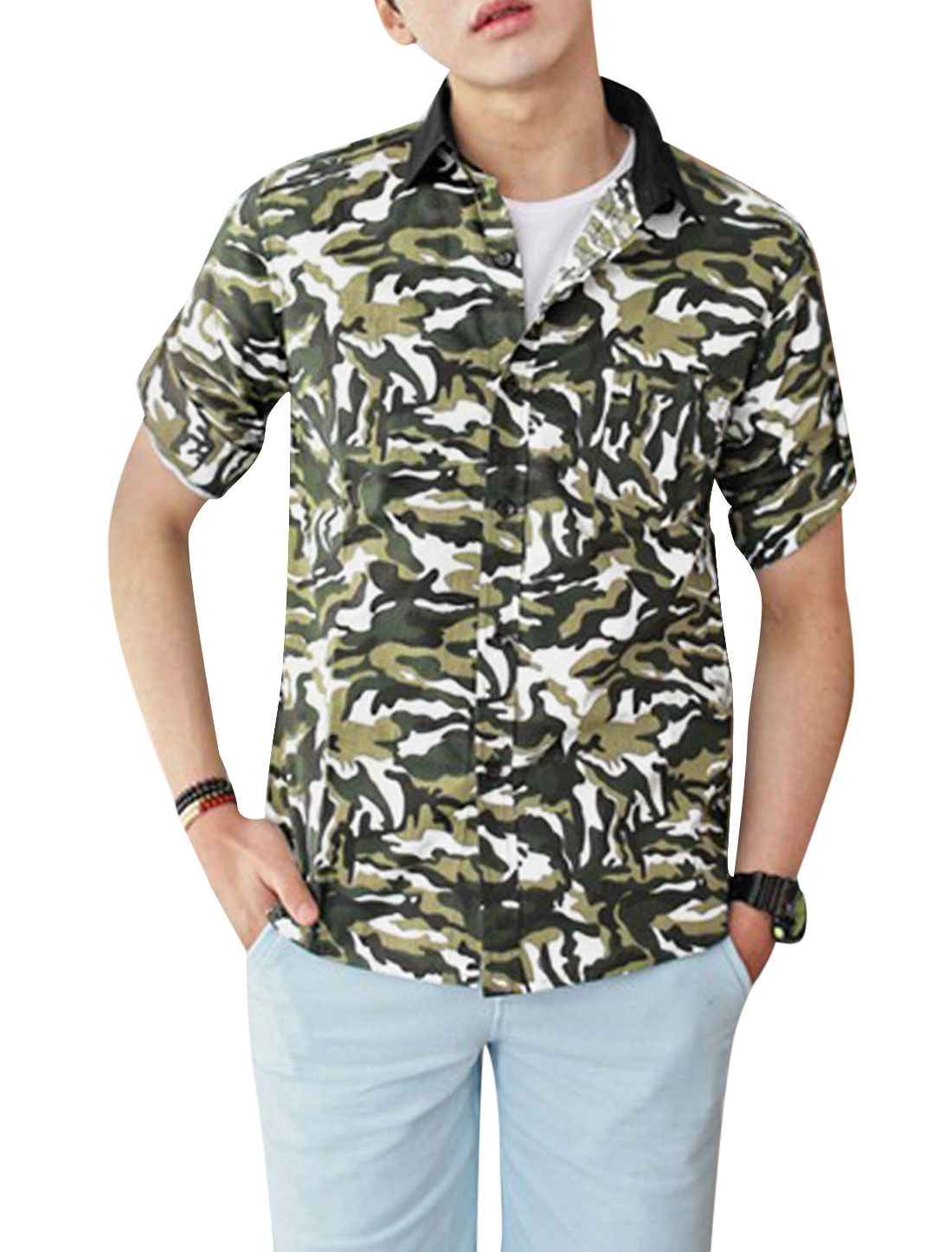Men 3/4 Sleeve Camouflage Pattern Trendy Slim Top Shirt Black White M