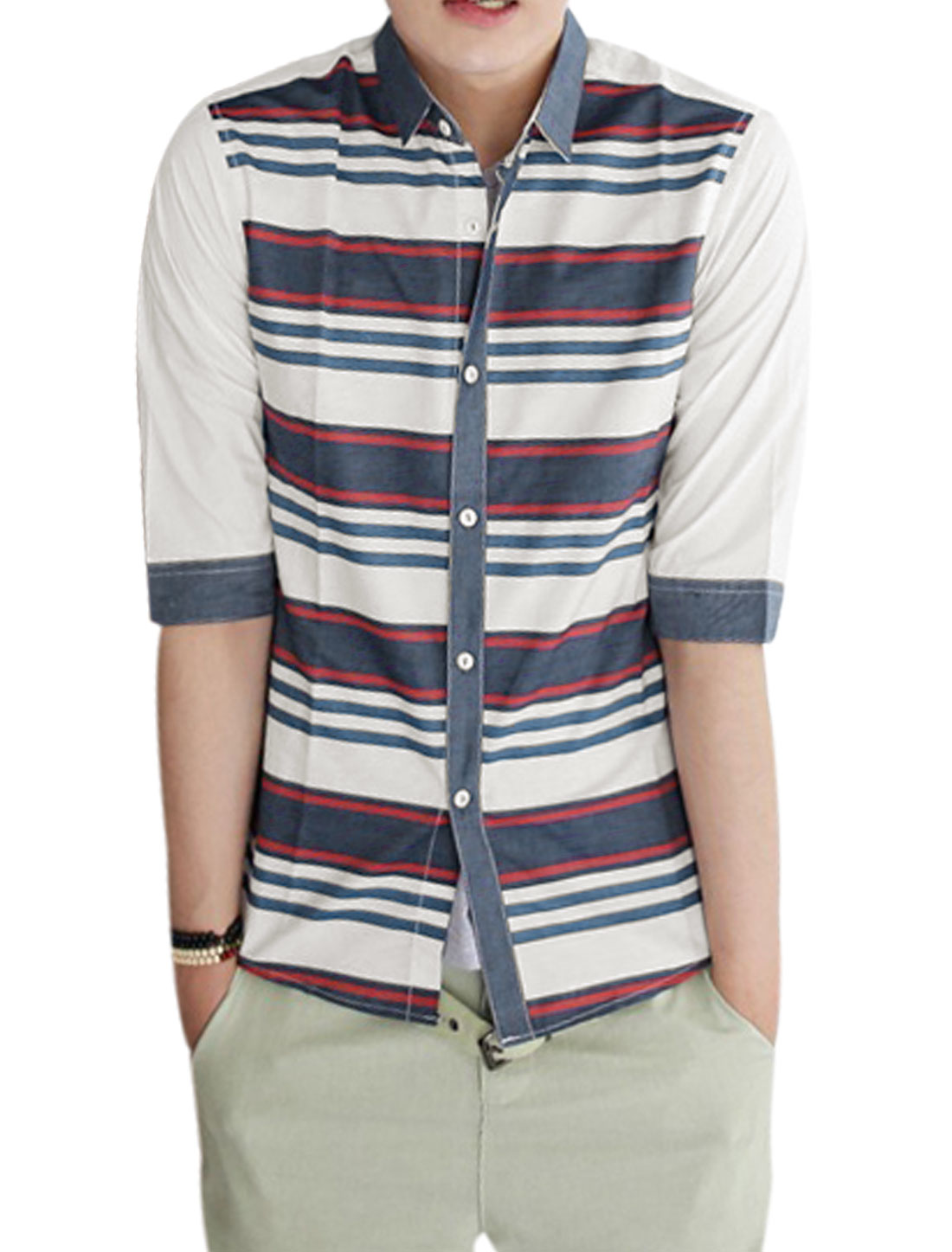 Men Point Collar Single Breasted Stripes Buttoned Cuffs Shirt White Red S