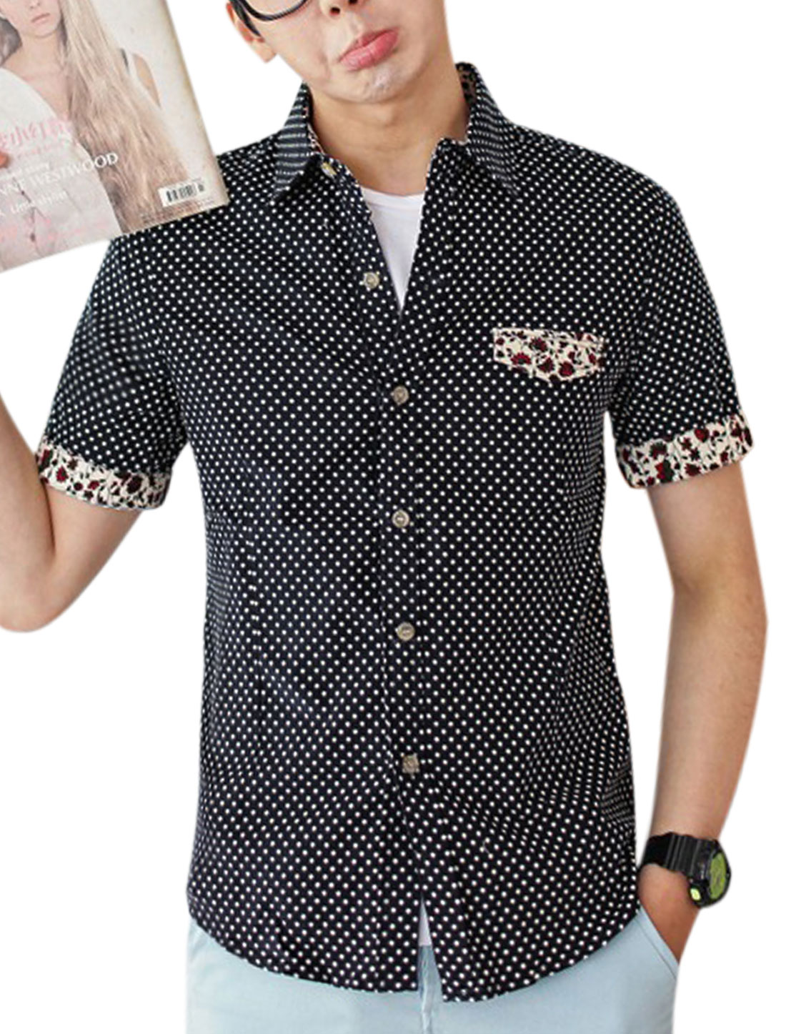 Men Dots Prints Floral Prints Detail Single Breasted Shirt Navy Blue M