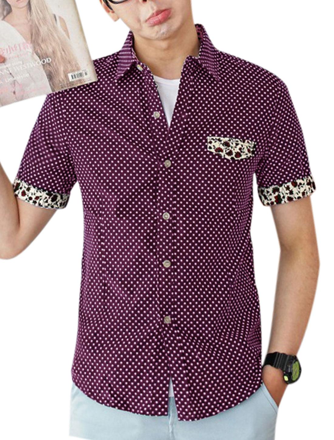 Men Dots Prints Mock Pocket Front Single Breasted Shirt Purple M