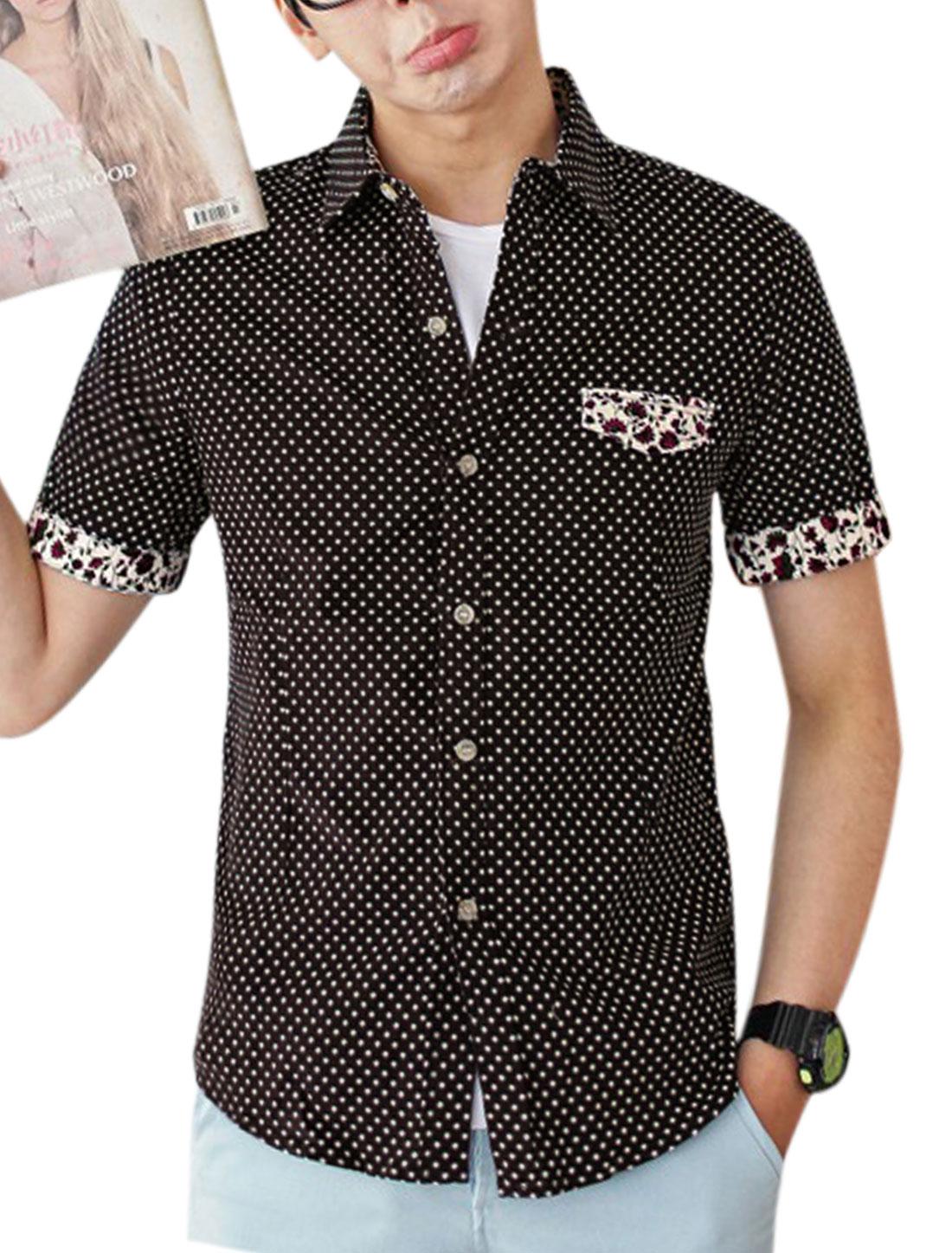 Men Dots Prints Mock Pocket Front Round Hem Shirt Coffee Brown M