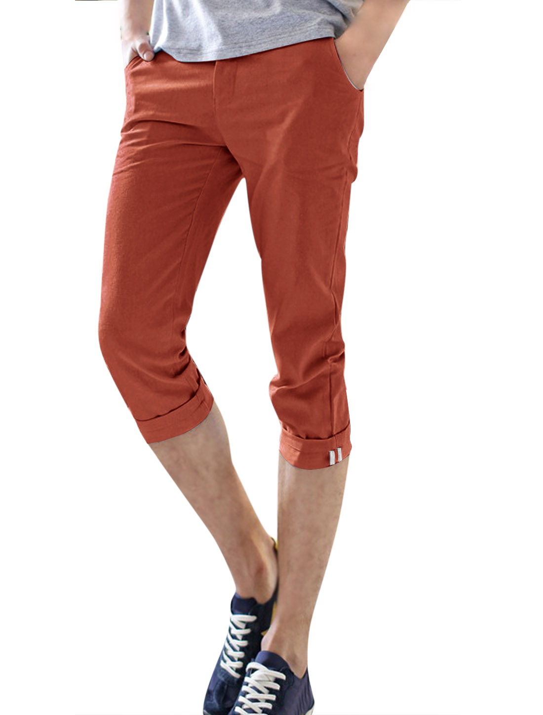 Men Two Pockets Striped Lined Inner Slim Fit Linen Capris Orange Red W30