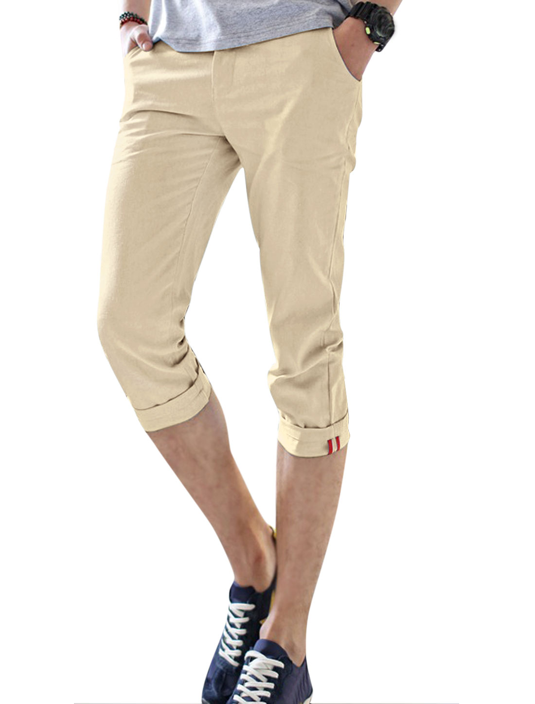 Men Slant Pockets Striped Lined Inner Slim Fit Linen Capris Beige W30