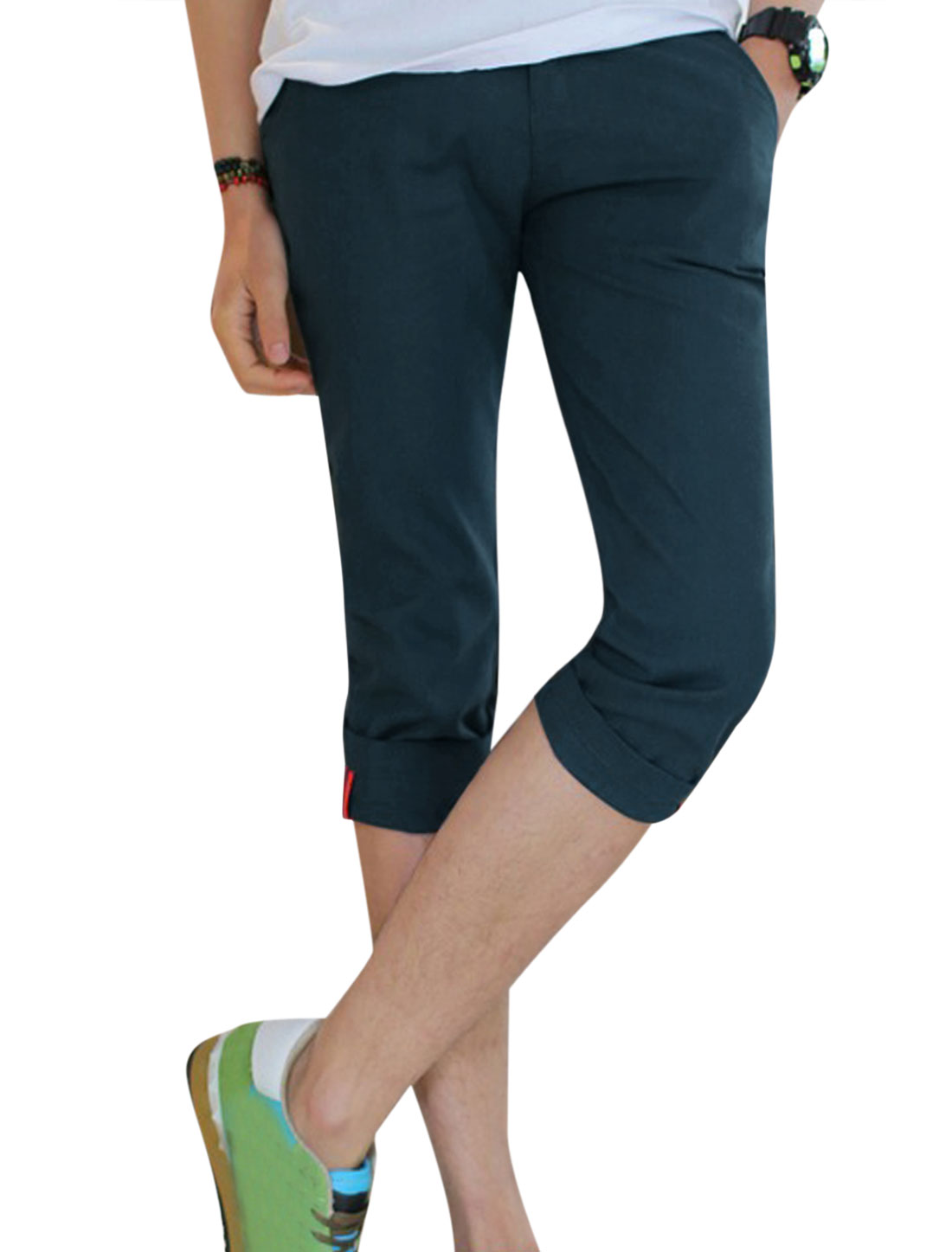 Men Roll-Up Cuffs Welt Pockets Back Slim Fit Linen Capris Navy Blue W30