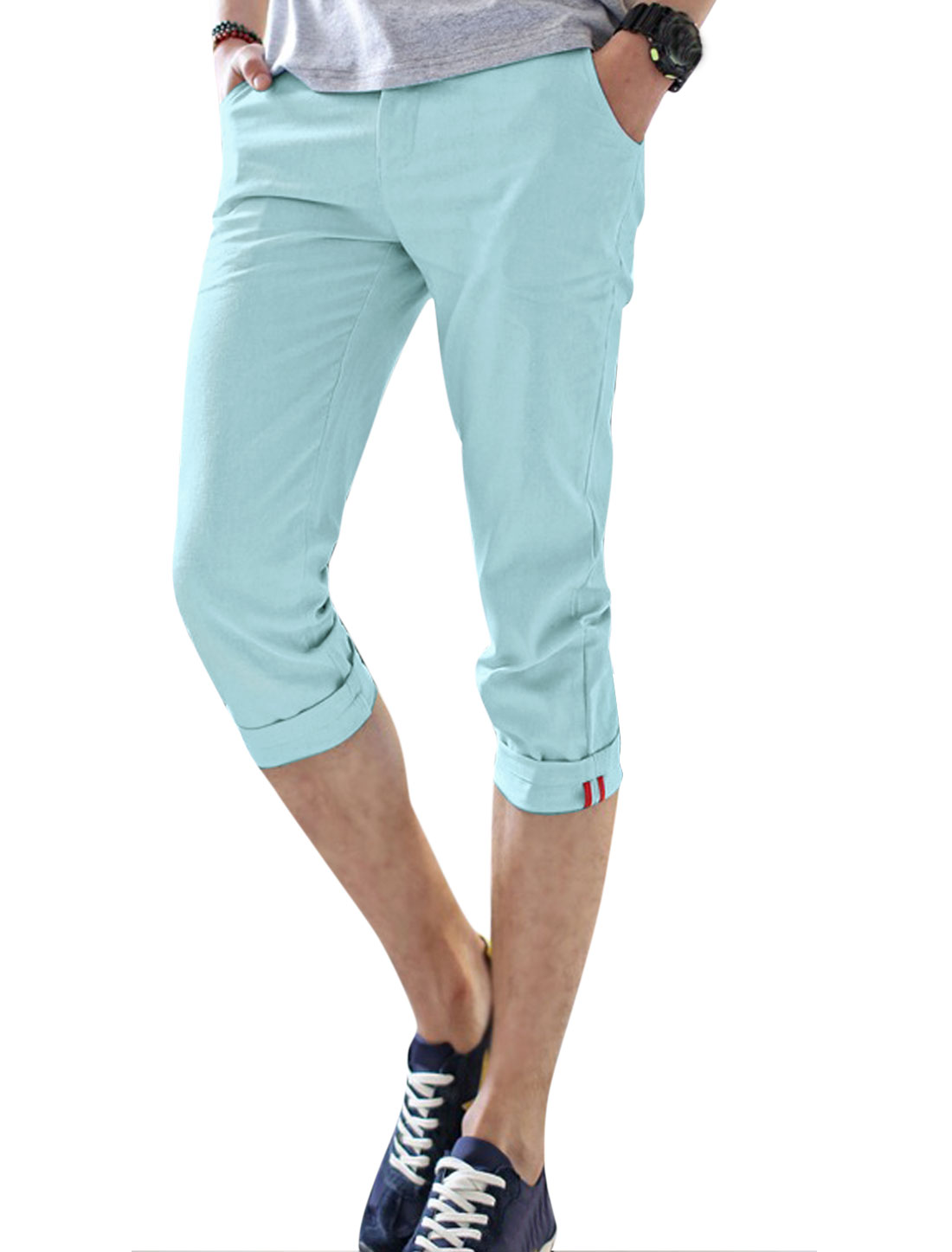 Men Button Closed Welt Pockets Back Slim Fit Linen Capris Baby Blue W30