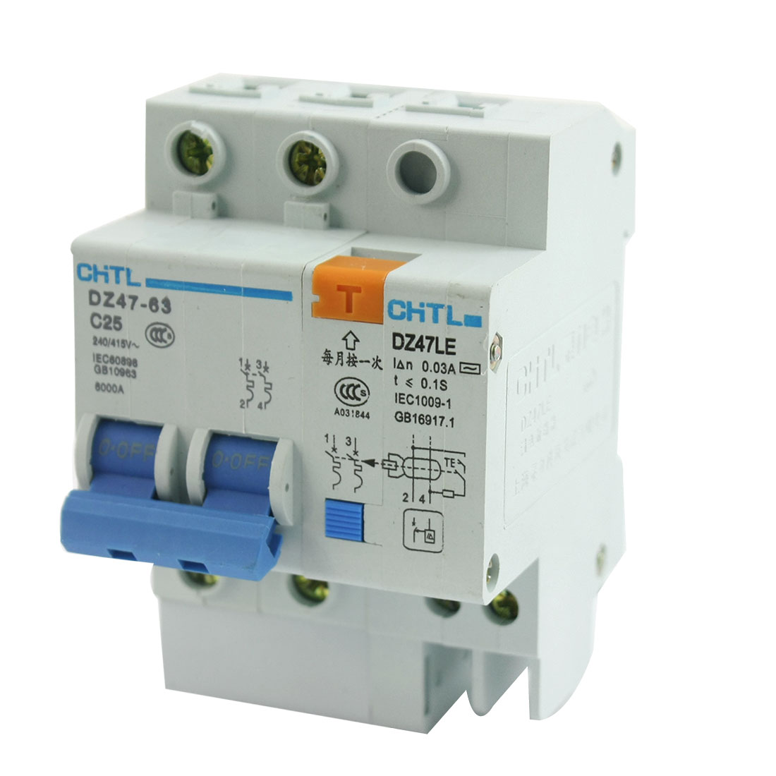 AC 240/415V 25A 2Pole 2P+1N Overload Protection ELCB Earth Leakage Circuit Breaker