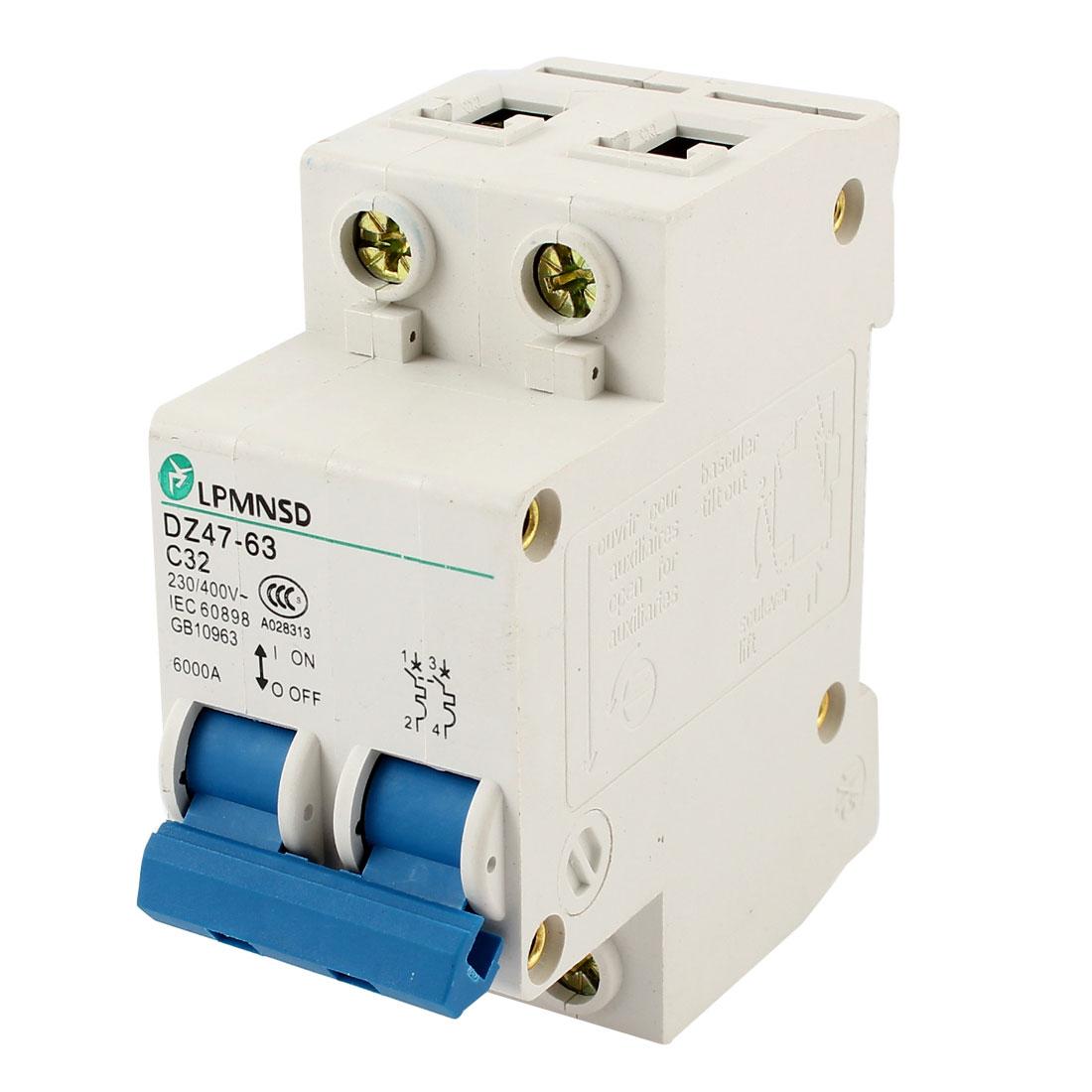 DZ47-63 C32 Overload 2 Pole Miniature Circuit Breaker AC 230/400V 32A