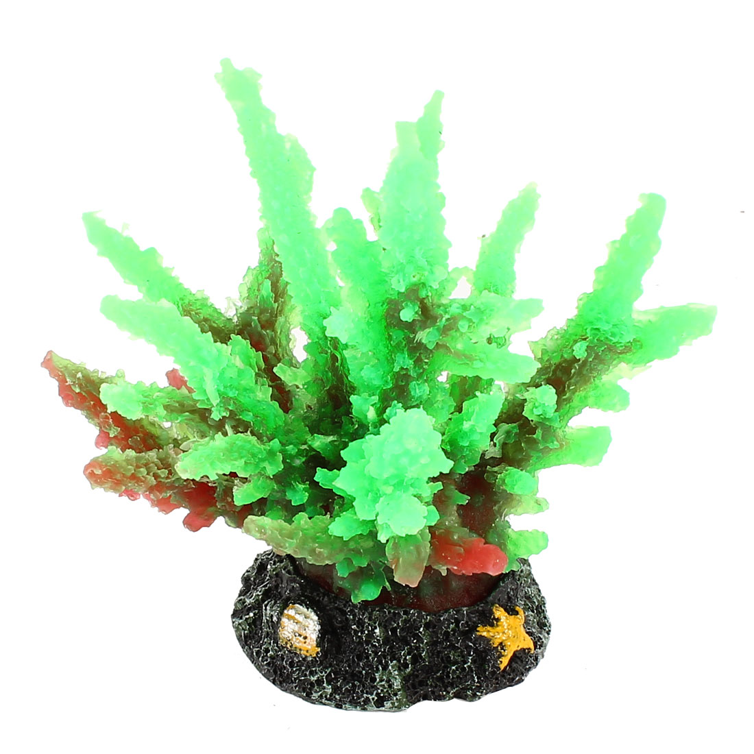 "Green Silicone Ceramic Base Artificial Coral 4.1"" High for Aquarium"