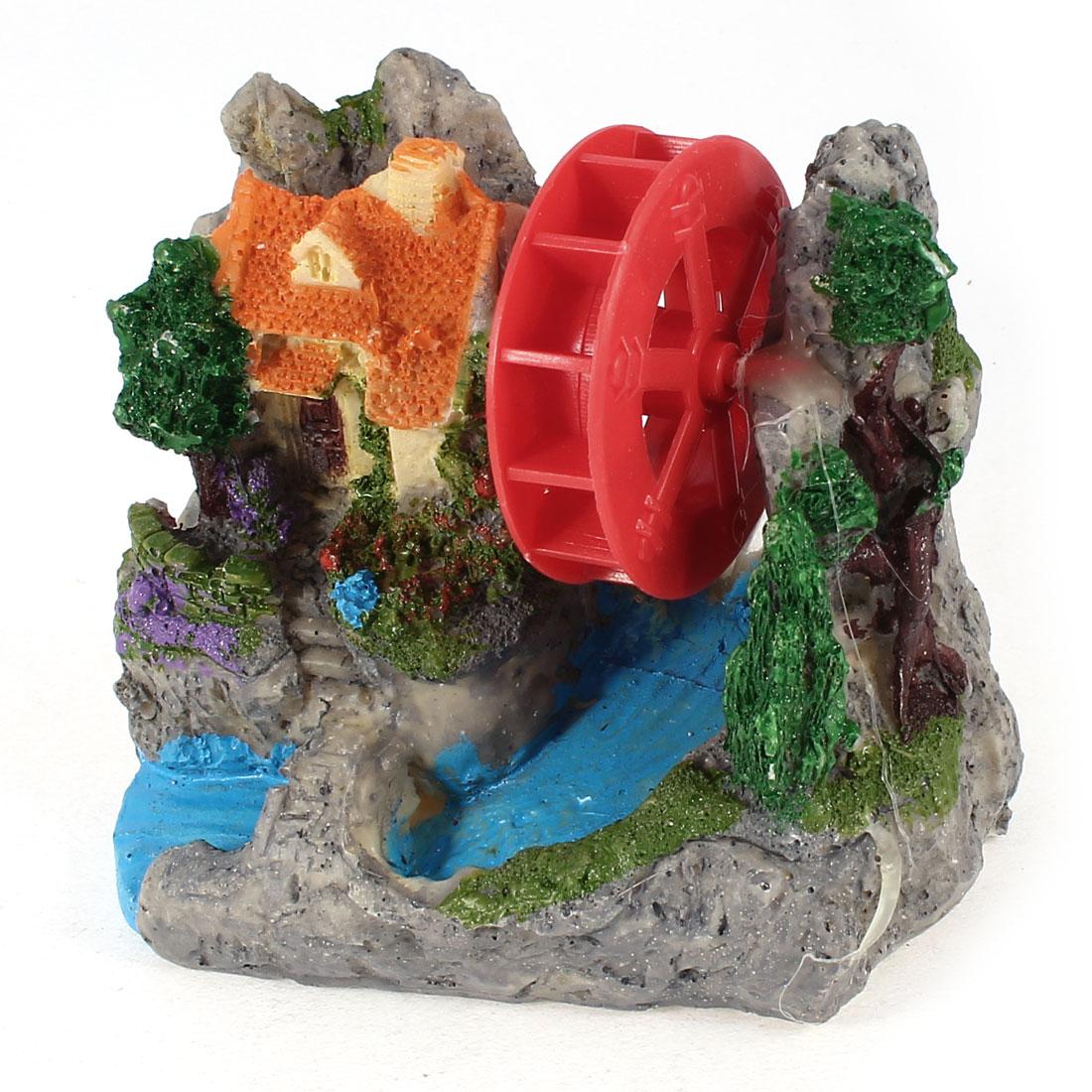 "Emulational Fish Tank House Windmill Landscape Decoration 4.2"" Height"