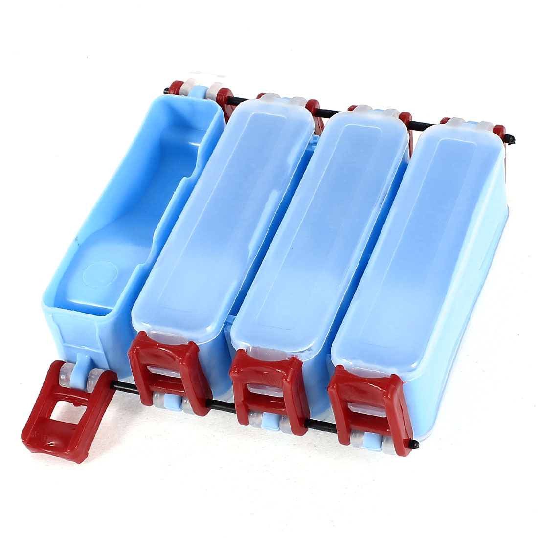Blue Red Plastic Dual Side 8 Compartments Fishing Lure Tackle Case Box