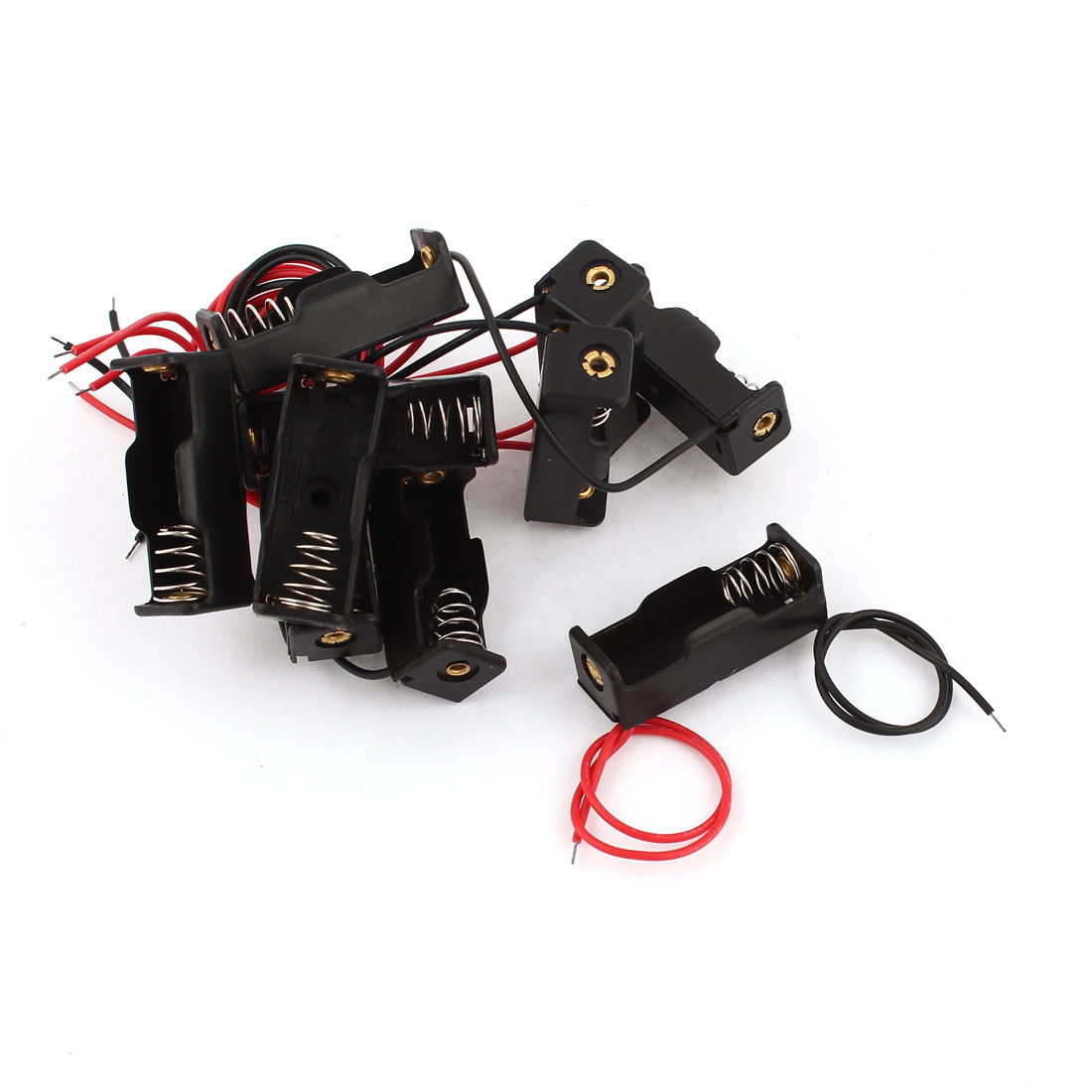 10Pcs 12V 23A Wire Leads Black Plastic Spring Clip Battery Holder