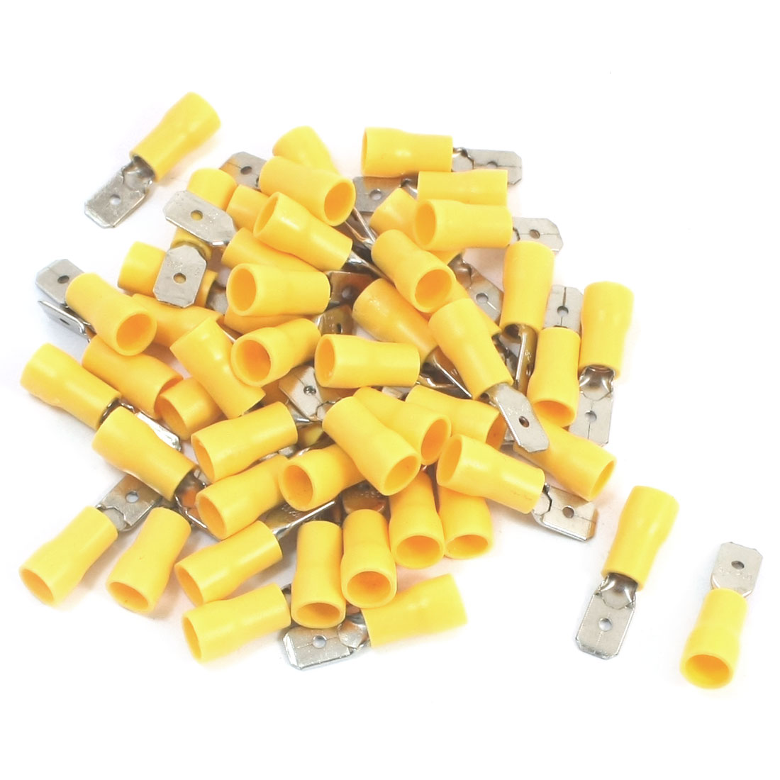 50Pcs 12-10 AWG MDD5-250 Yellow PVC Sleeve Insulated Cable Terminals Crimp