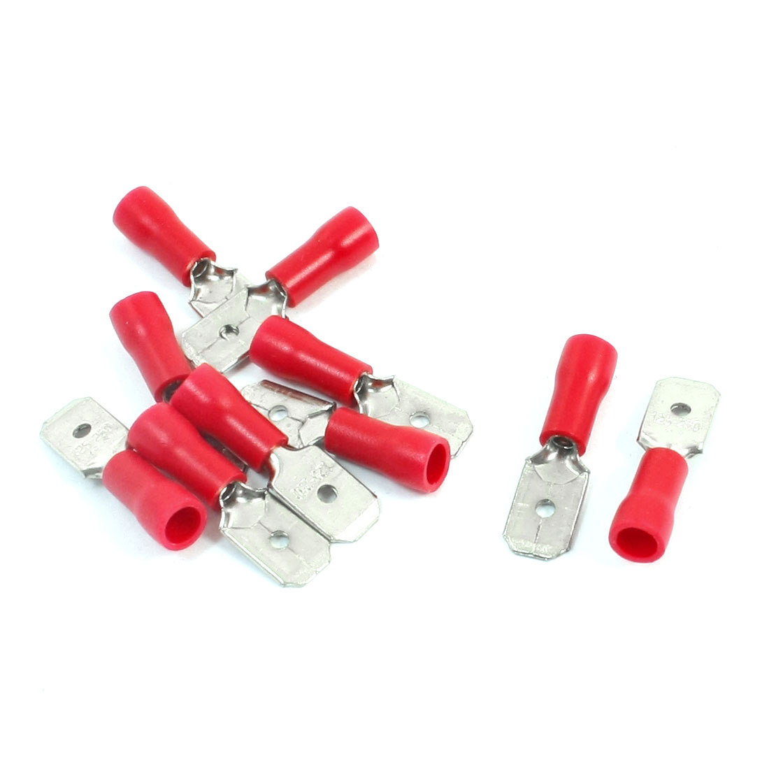 10Pcs 22-16 AWG MDD1-250 Red PVC Sleeve Insulated Cable Terminals Crimp