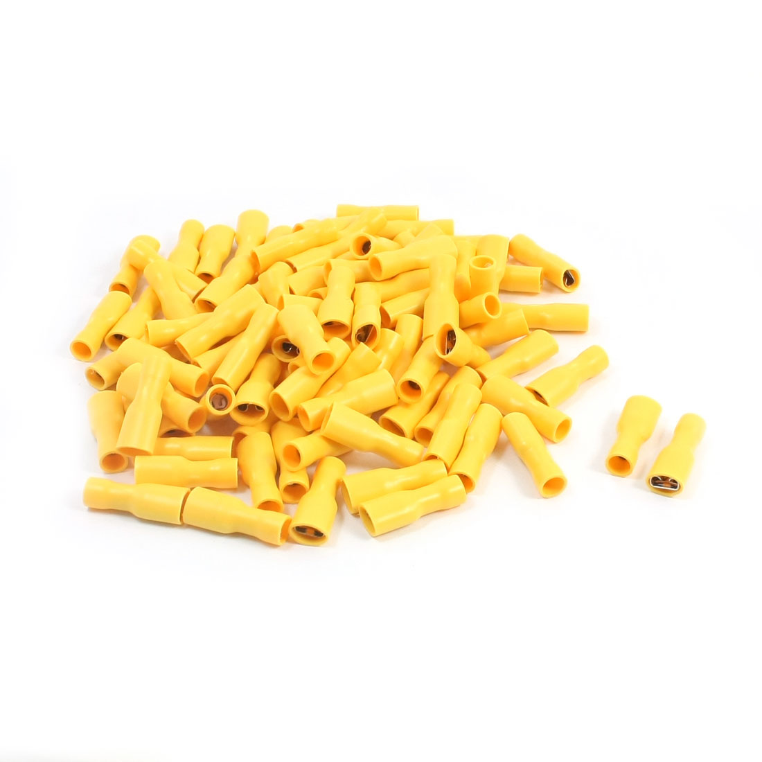 100 Pcs 12-10 AWG Yellow PVC Sleeve Fully Insulated Crimp Terminals Cable Lug