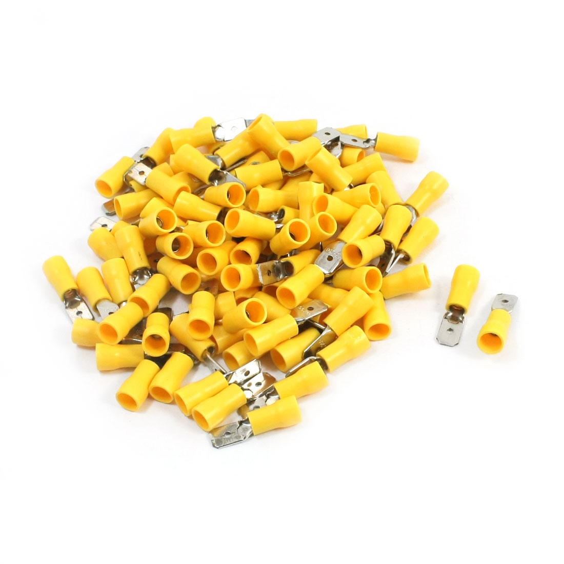 100Pcs 12-10 AWG MDD5-250 Yellow PVC Sleeve Insulated Cable Terminals Crimp