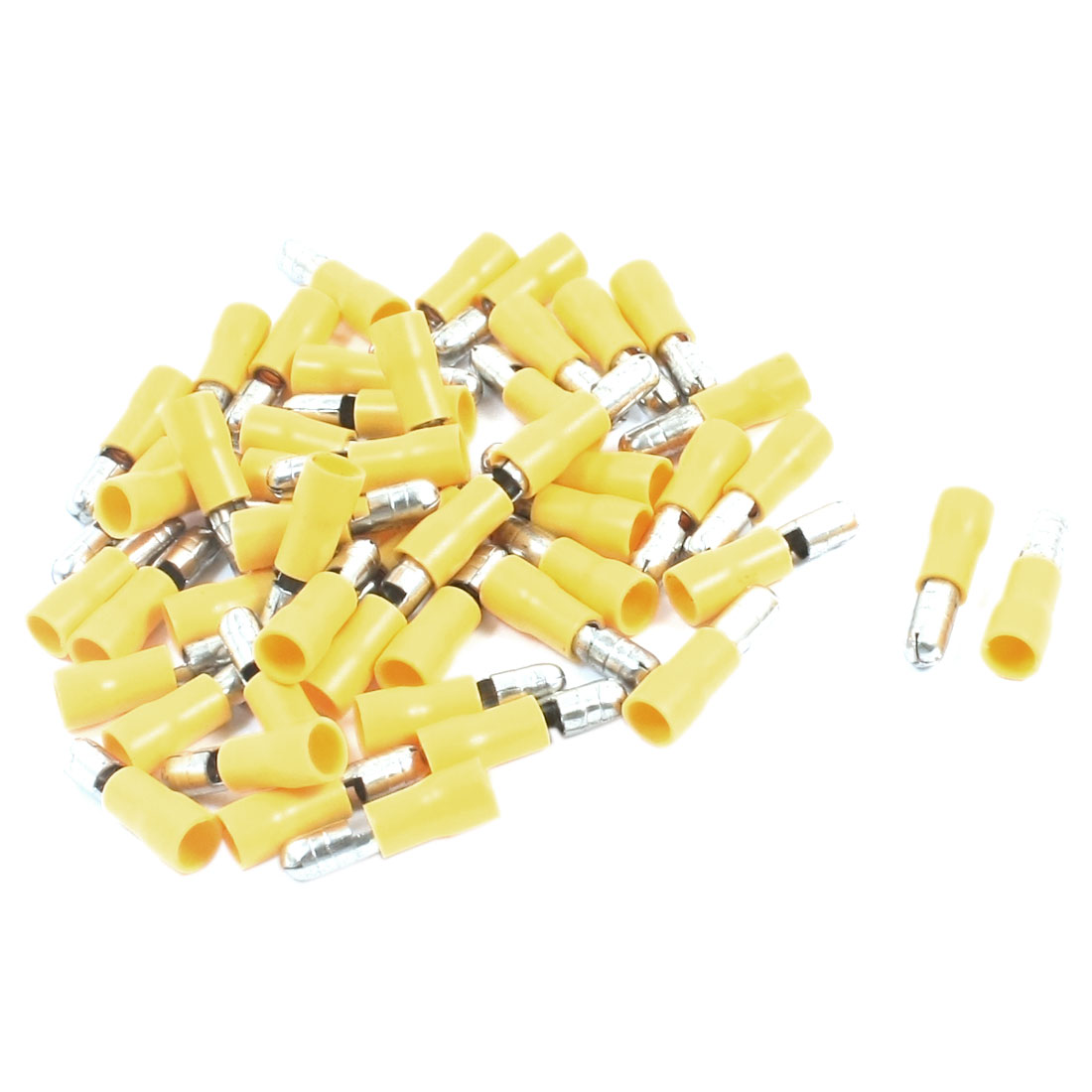 50Pcs 12-10AWG MPD5-195 Yellow PVC Sleeve Insulated 5mm Cable Terminals Crimp